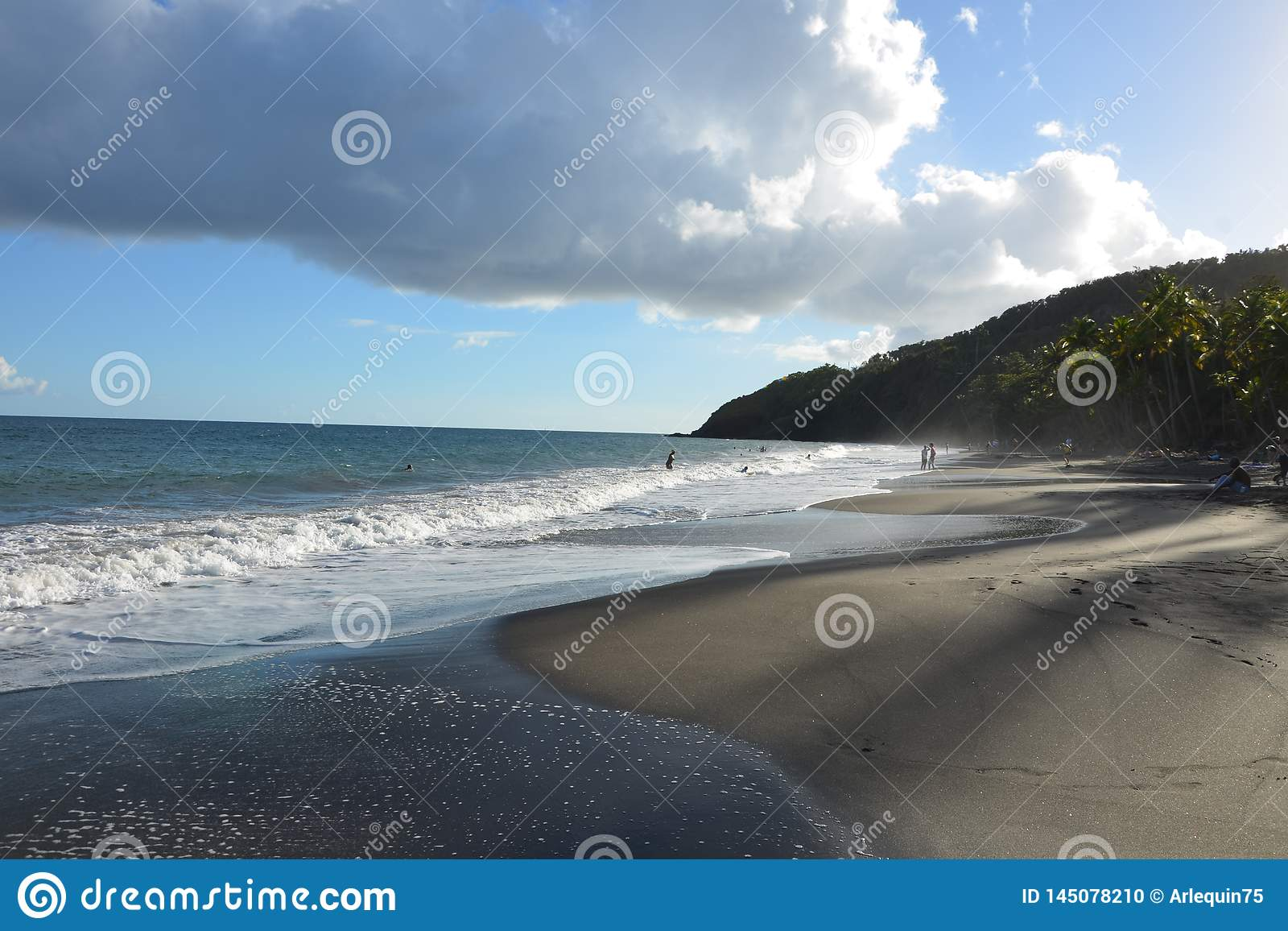 Grande Anse Beach In Trois Rivieres Guadeloupe Stock Photo