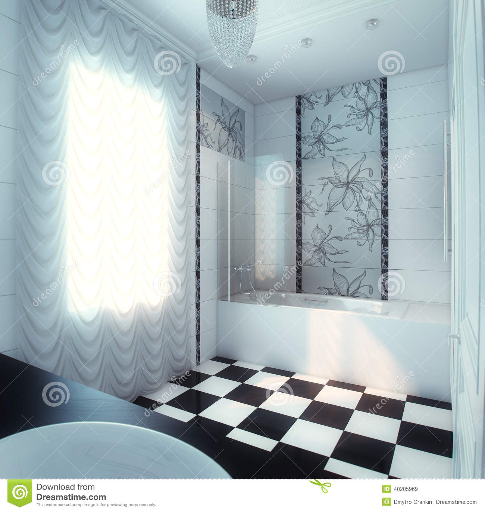 Grande Banheiro Bonito Na Casa Luxuosa Foto de Stock Imagem  #83A427 1300 1390