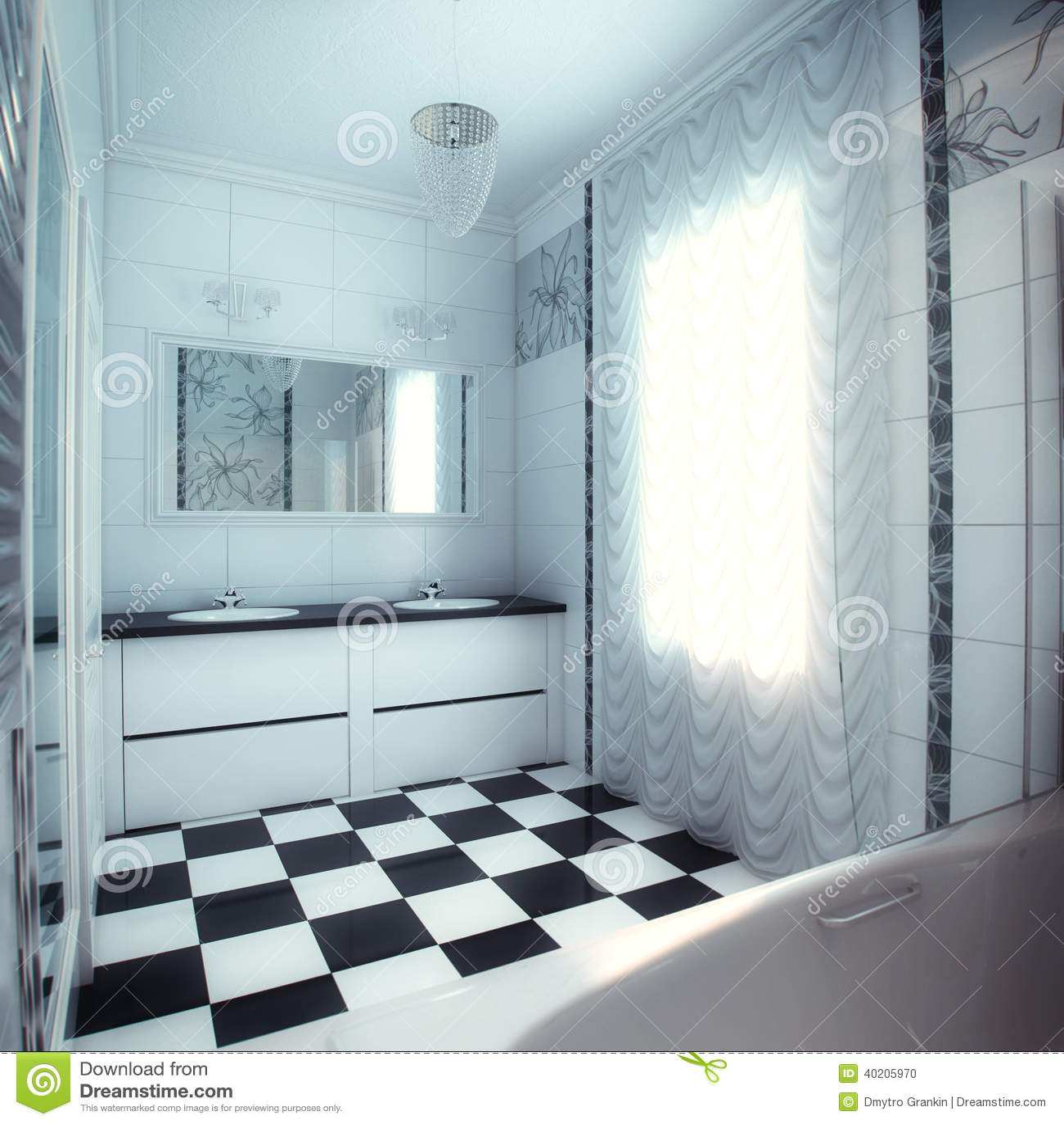 Grande Banheiro Bonito Na Casa Luxuosa Foto de Stock Imagem  #84A427 1300x1390 Banheiro De Pobre Bonito