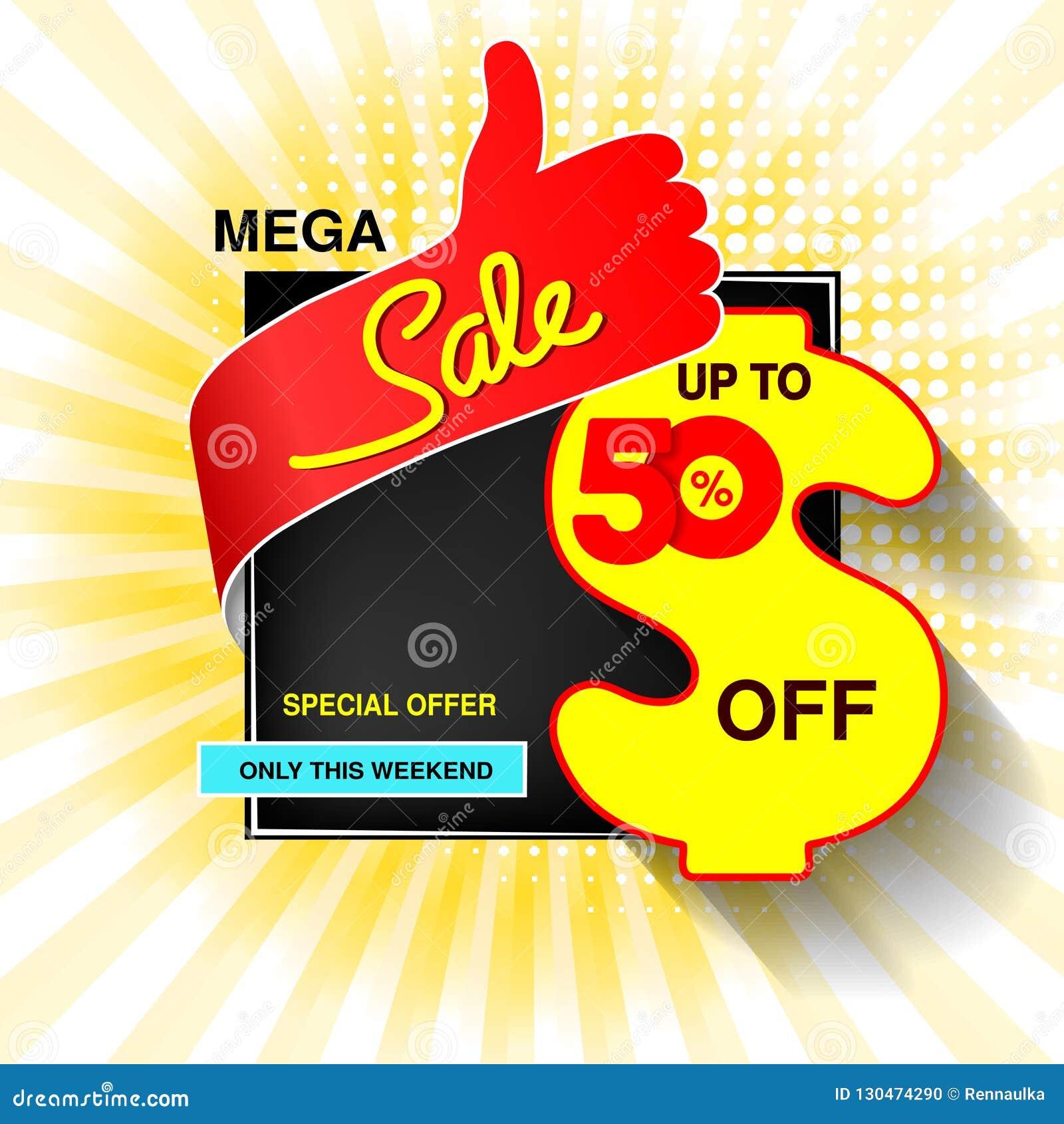 Grande bannière de vente de vecteur Vente méga, jusqu à 50  Offre spéciale jaune bleue rouge seulement ce week-end Conception de