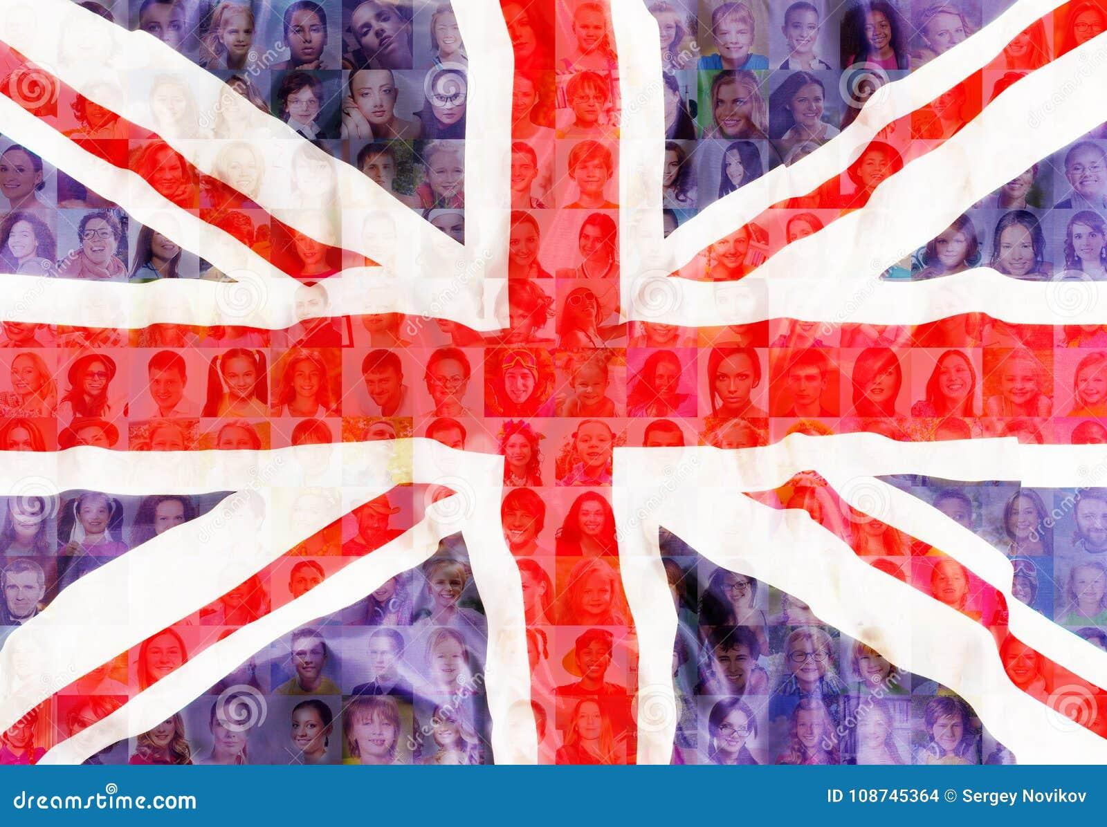 Grande Brittan bandeira de Reino Unido com retratos