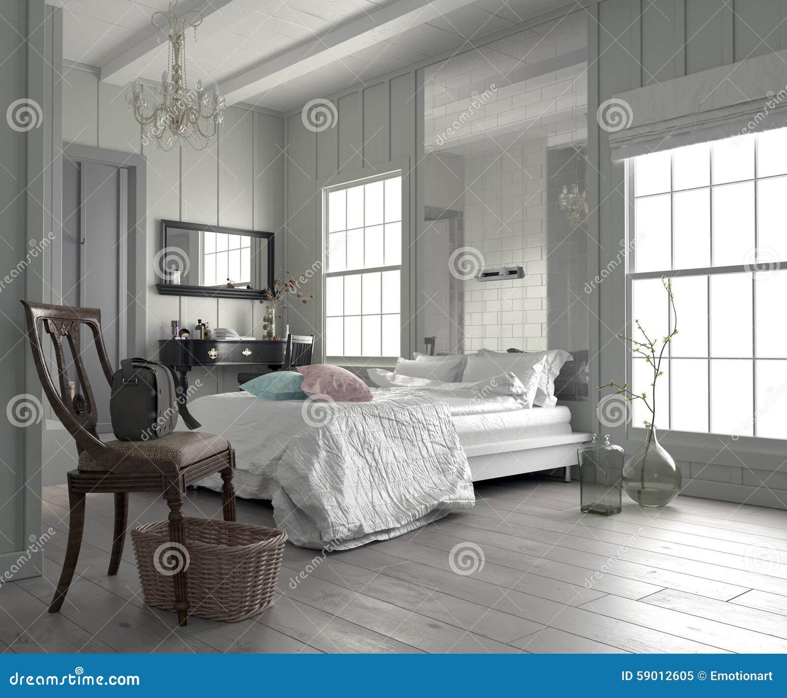 Grande camera da letto bianca moderna spaziosa immagine stock immagine di mobilia hotel 59012605 - Camera da letto moderna bianca laccata ...
