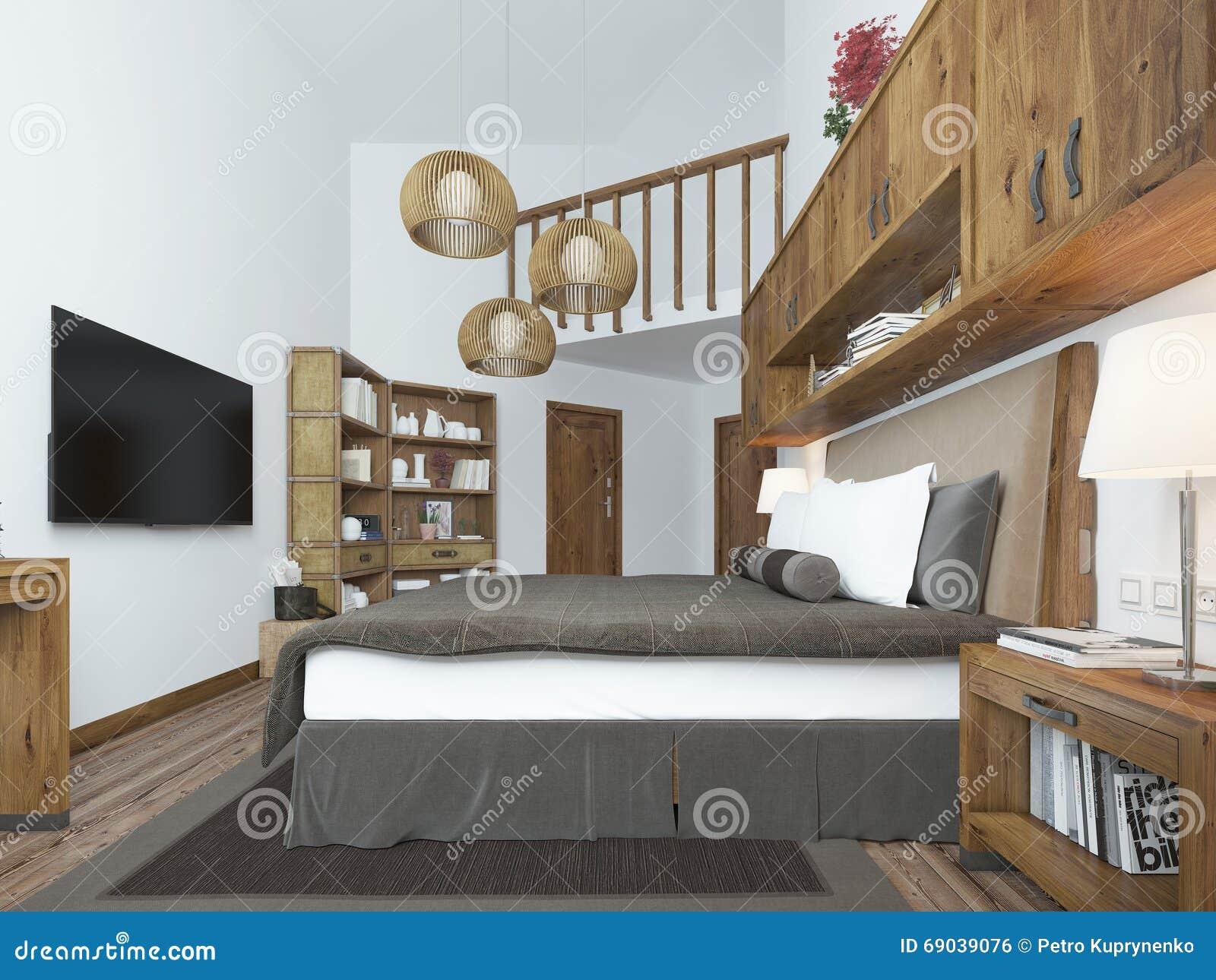 Grande camera da letto nello stile moderno con gli elementi di un sottotetto rustico fotografia - Camera da letto sottotetto ...