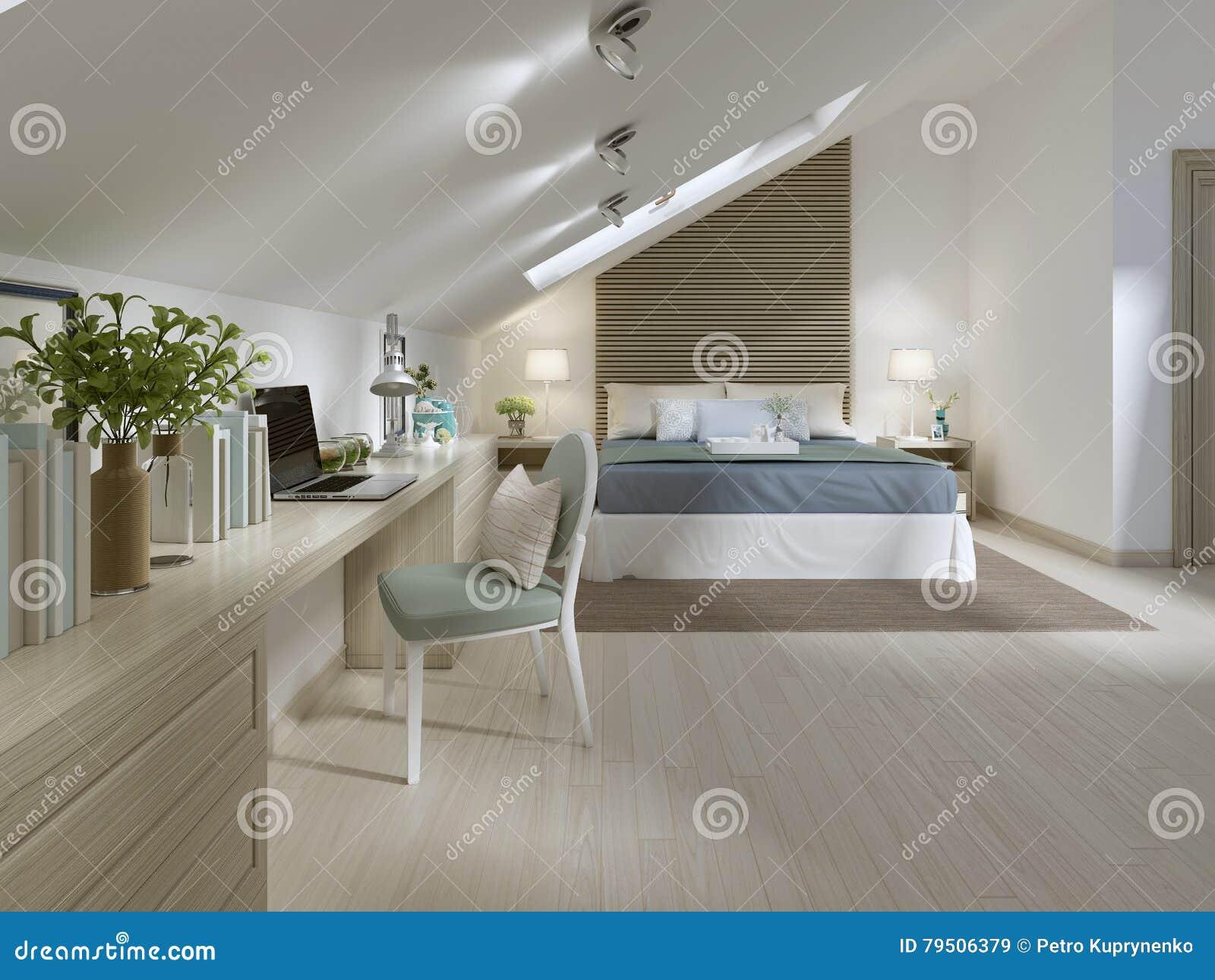 grande camera da letto sul pavimento della soffitta in uno