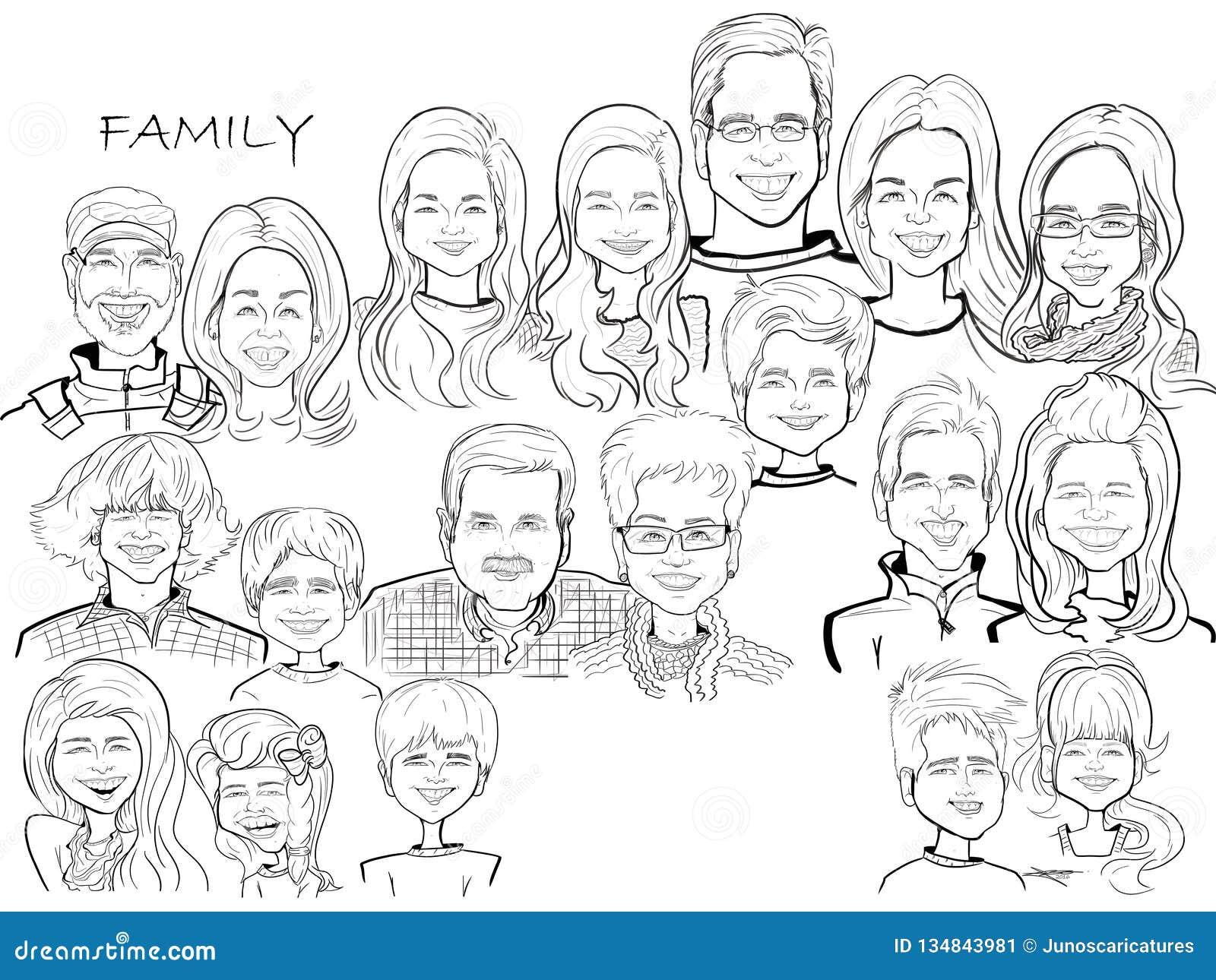 Grande caricature de bande dessinée de célébration de famille