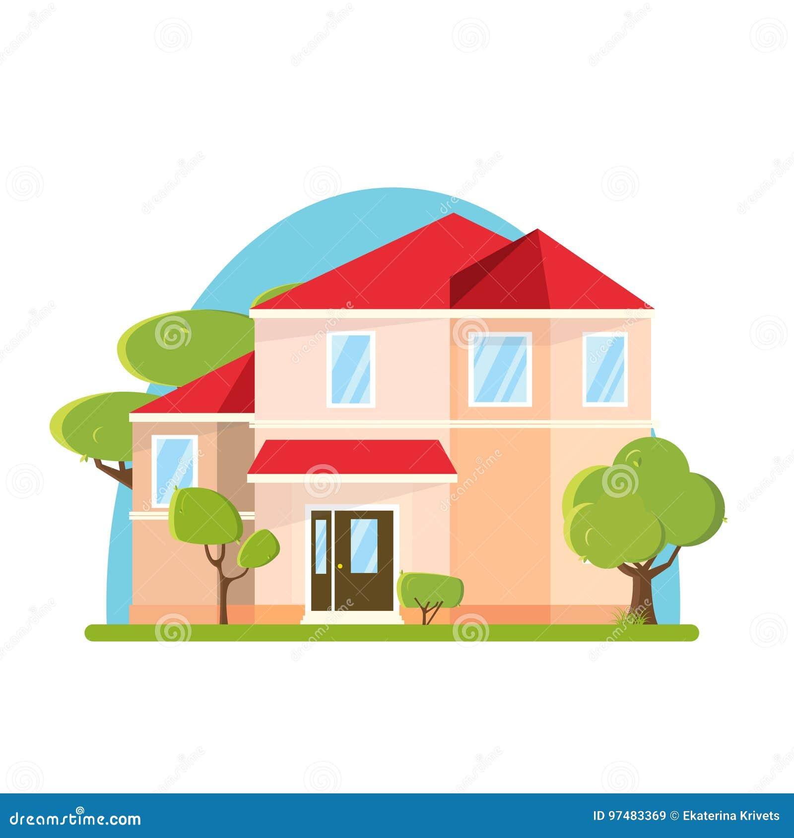 Grande casa di progettazione piana con gli alberi Costruzione con l albero verde