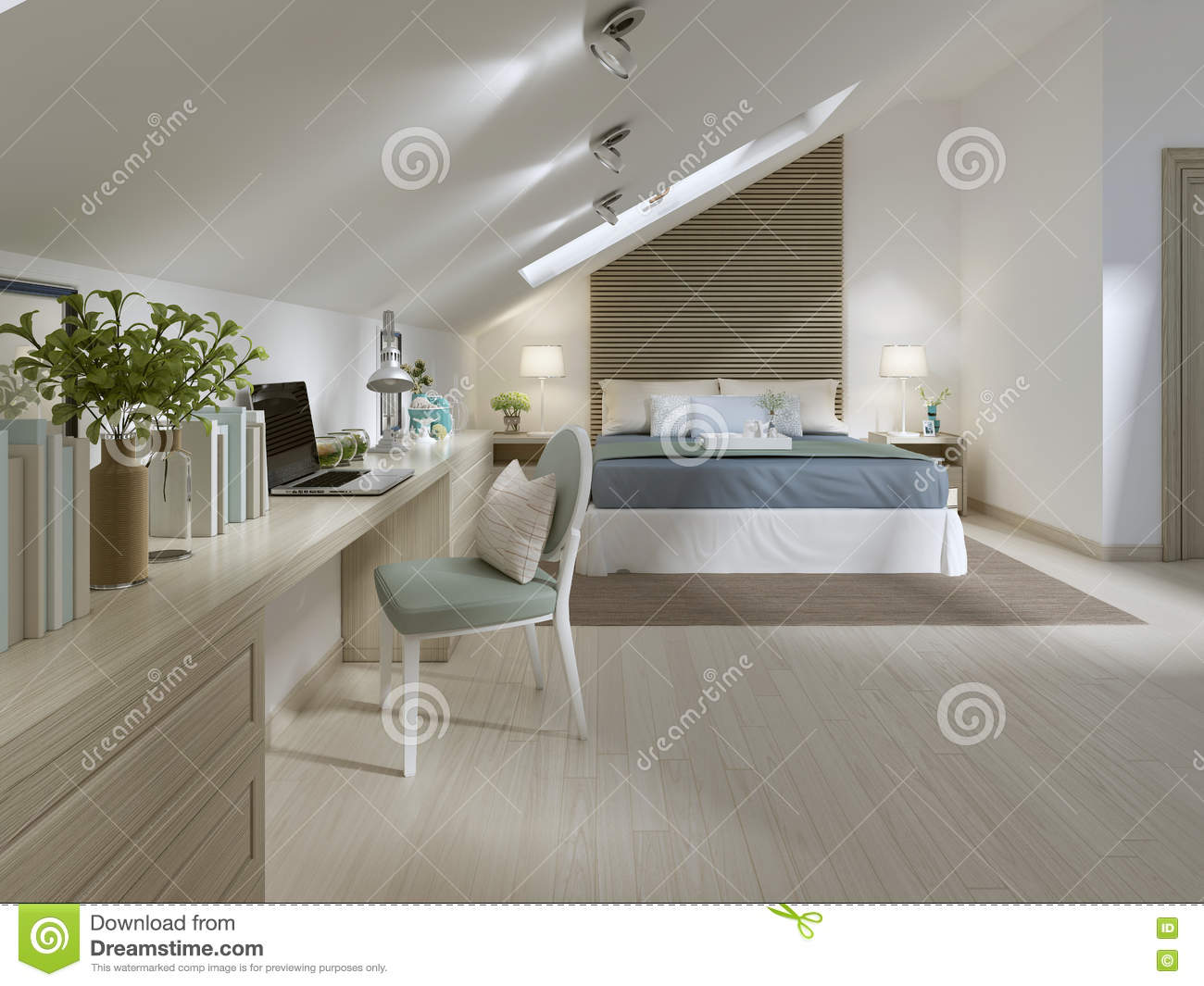 grande chambre coucher sur le plancher de grenier dans un style moderne illustration stock. Black Bedroom Furniture Sets. Home Design Ideas