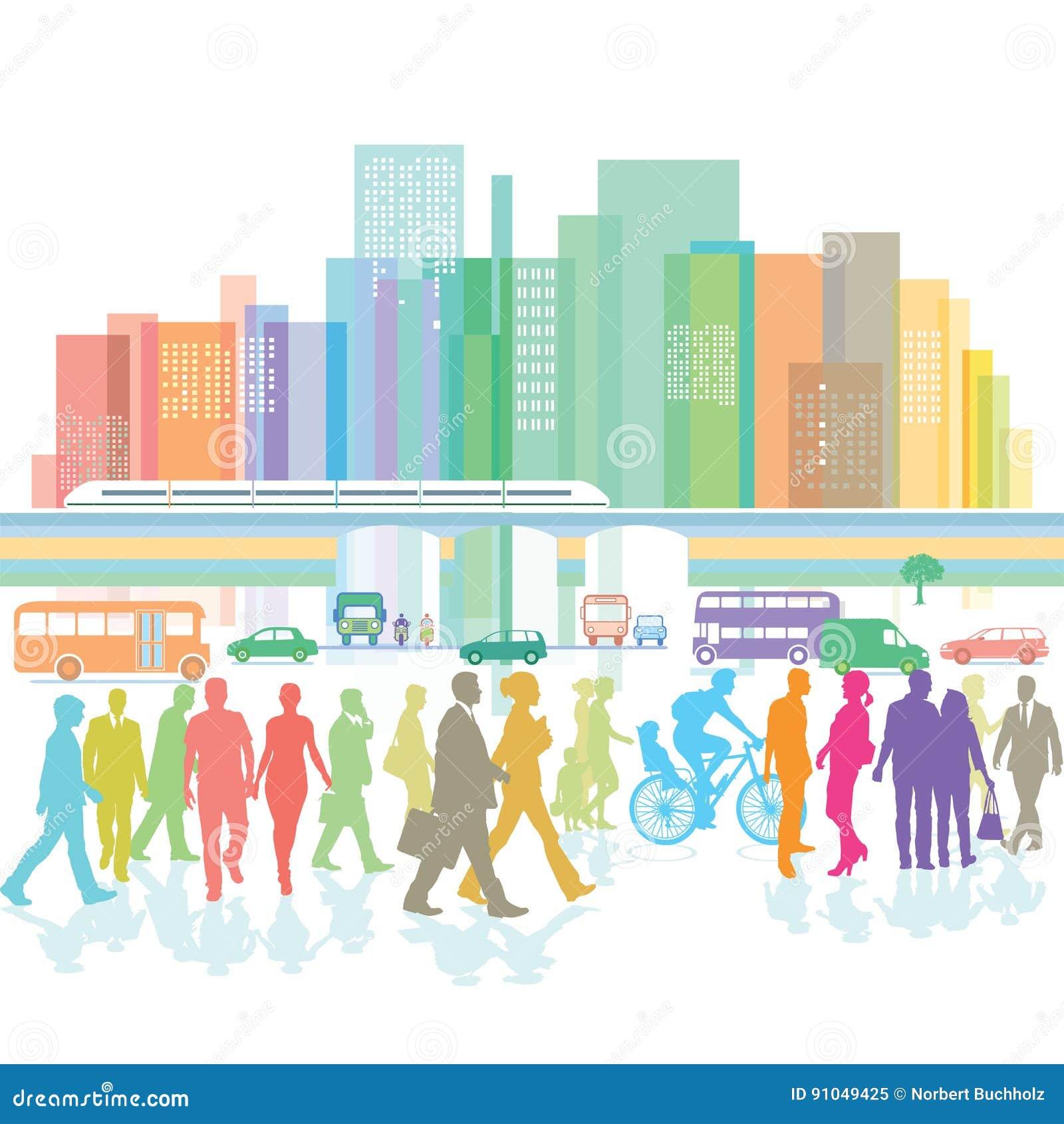 Grande cidade com povos e tráfego rodoviário