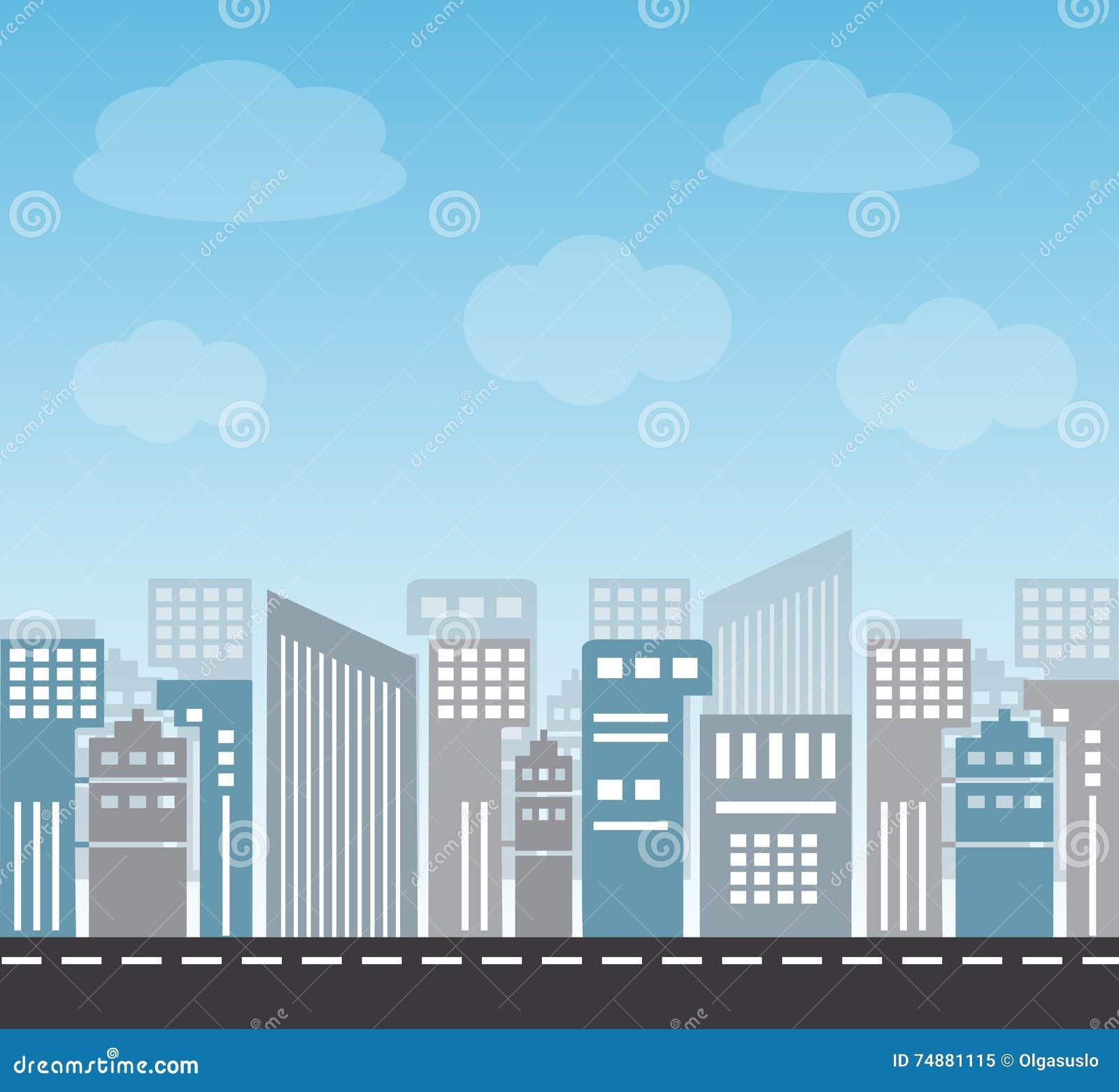 Grande cidade na tarde