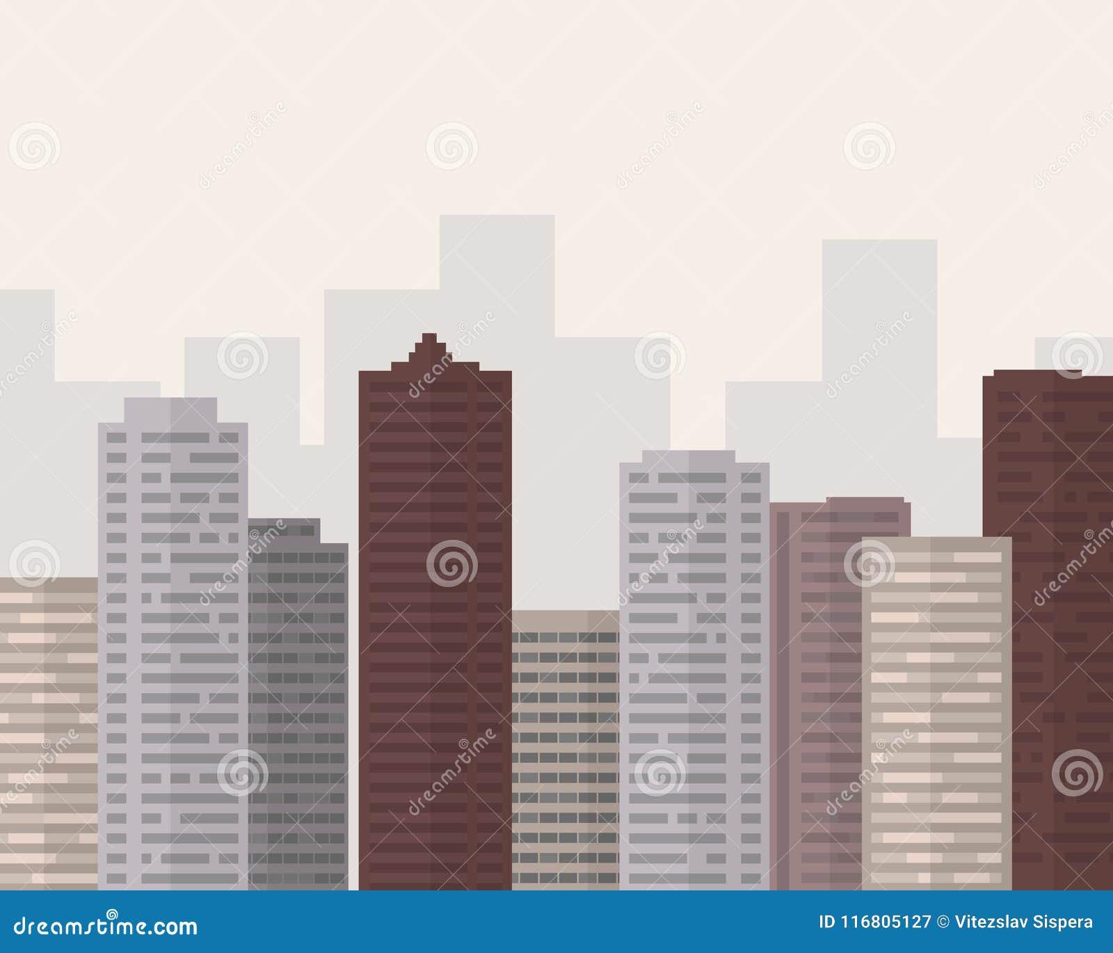 Grande città di progettazione piana con smog sotto il cielo grigio