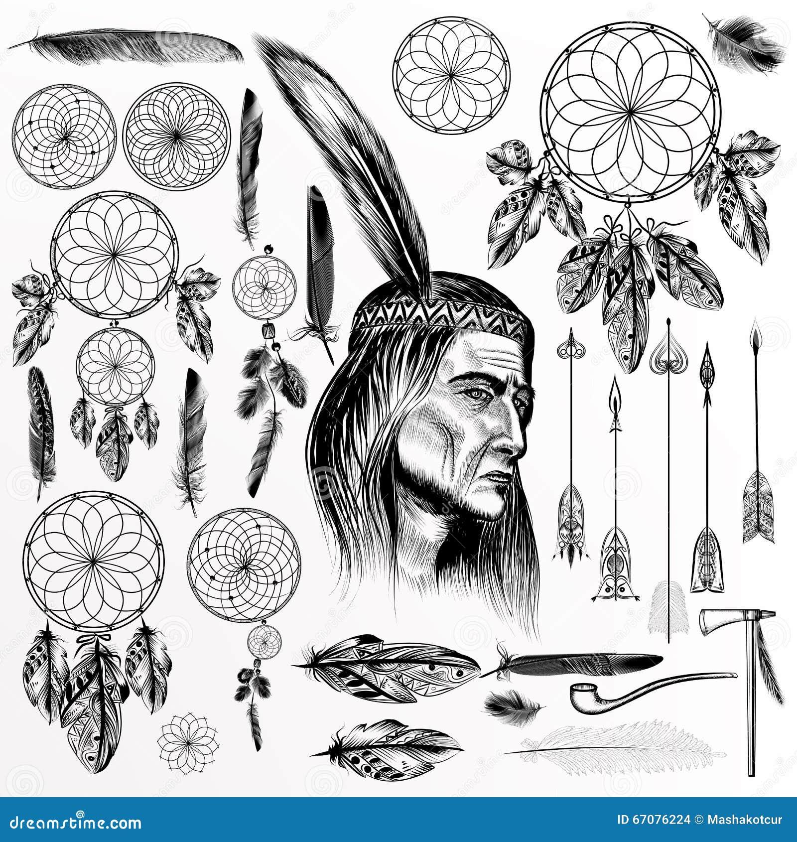 Grande collection ou ensemble d éléments tribals tirés par la main de vecteur