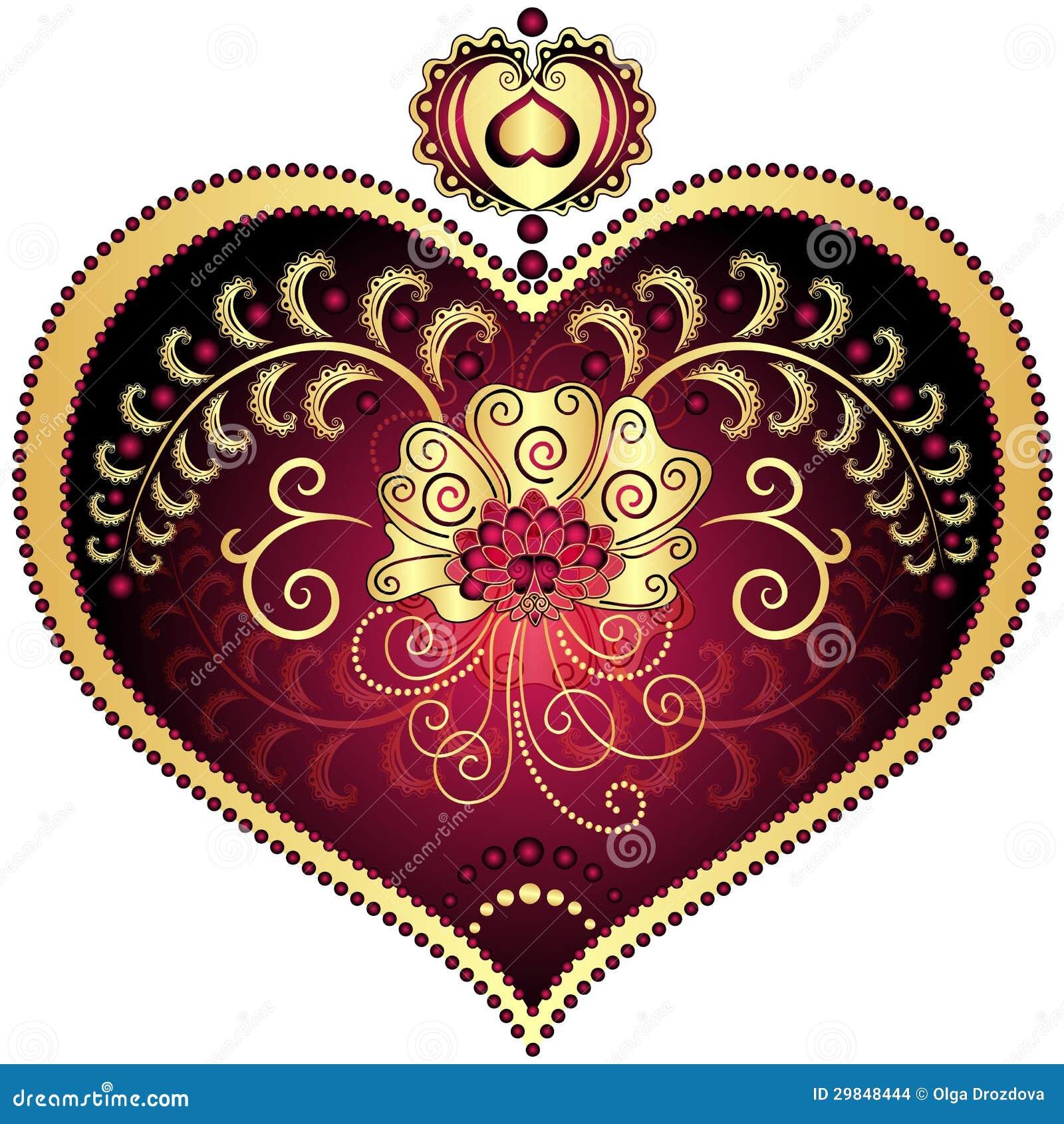 Vermelho e coração do vintage do ouro