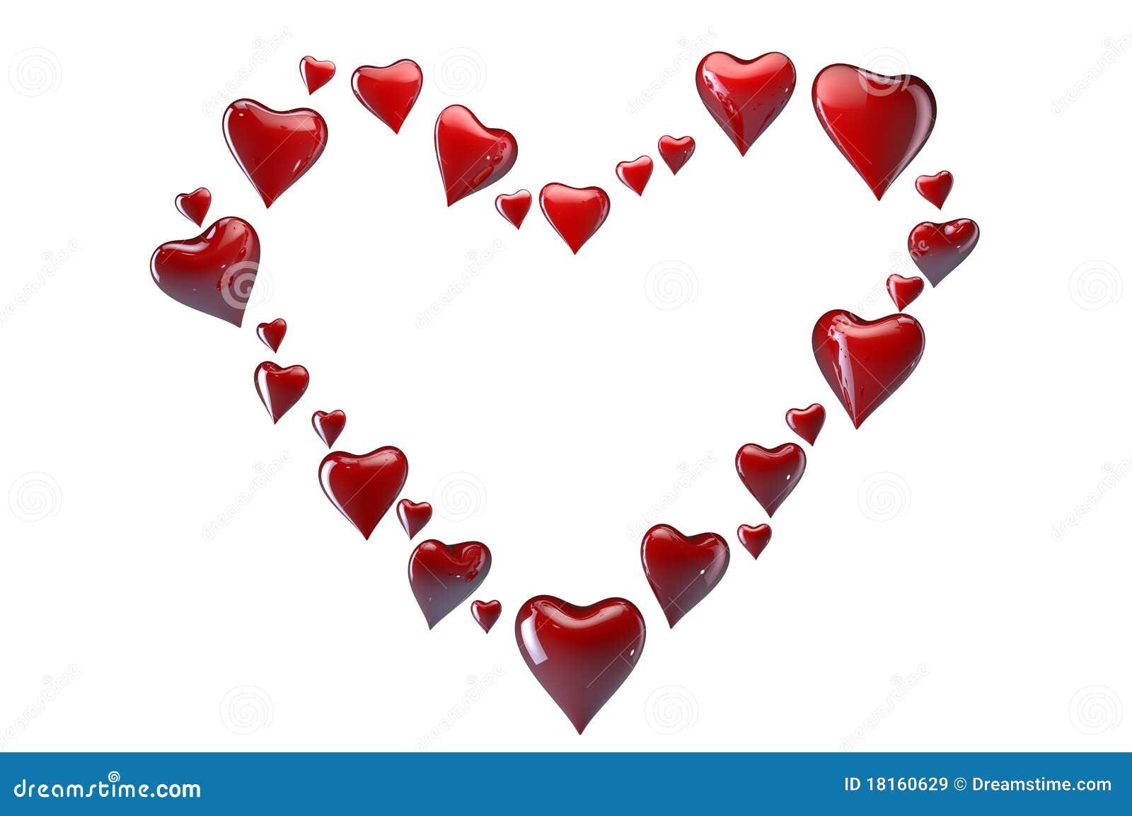 Grande cuore fatto di piccoli cuori rossi illustrazione di for Immagini di cuori rossi