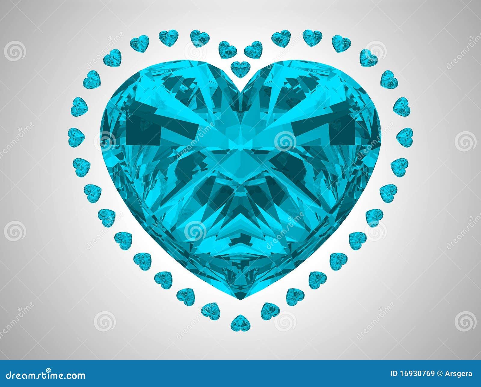 Grande diamante azul do corte do coração
