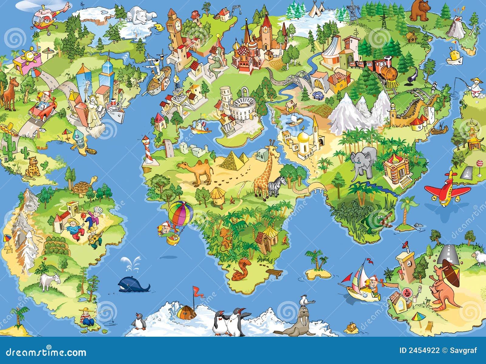 Grande e mapa de mundo engraçado