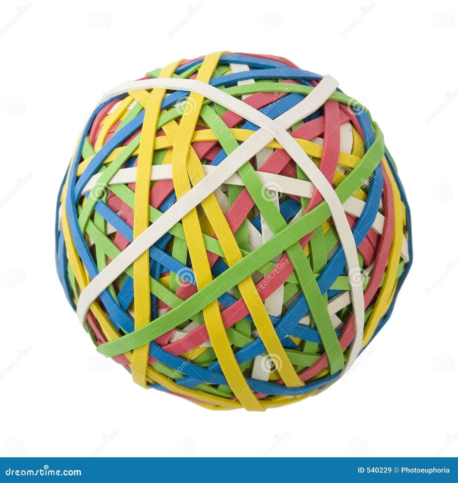 Grande esfera de Rubberband sobre o branco