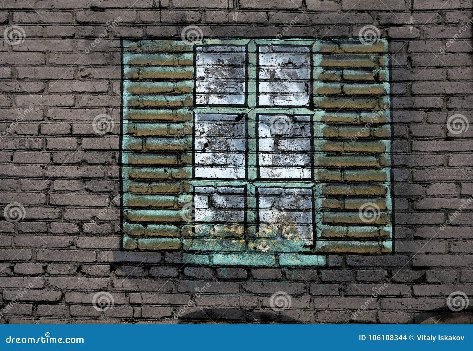 Grande finestra nera della metallo plastica sulla parete davanzale