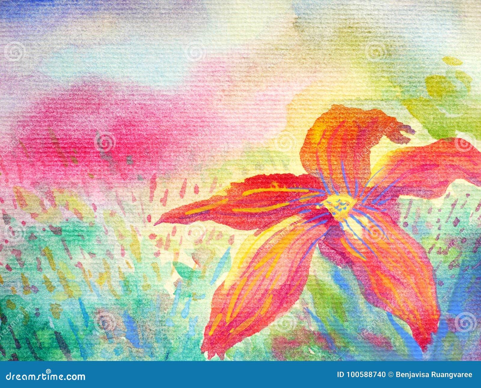 Grande fiore rosso in priorità alta e nel fondo variopinto del cielo del campo
