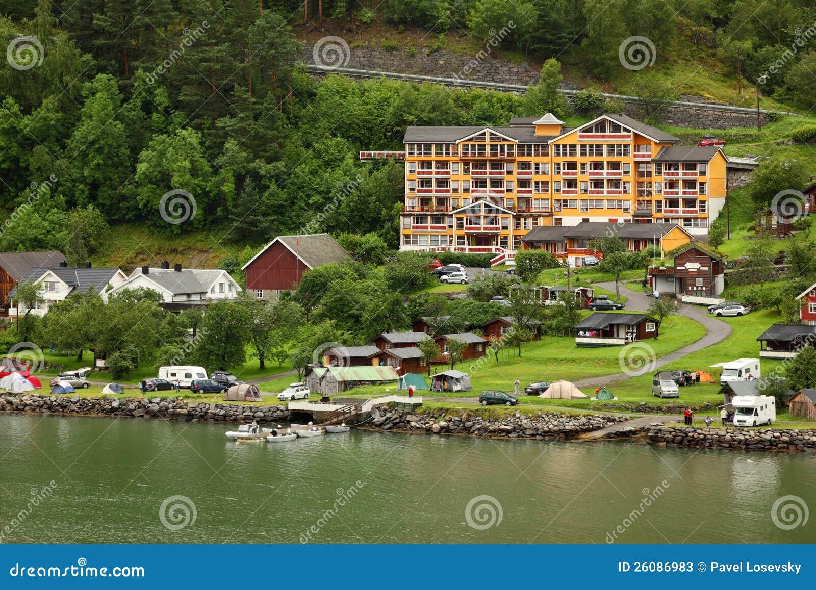 Grande Fjord Hotel In Small Coastal Village Editorial Stock