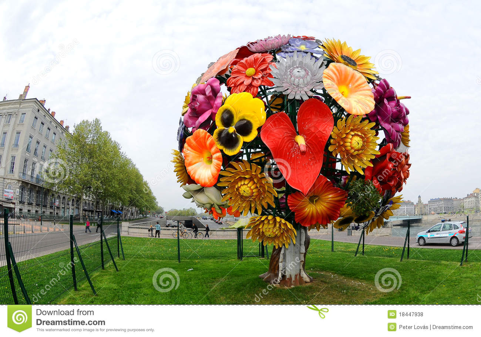 bouquet de fleurs sculpture lyon