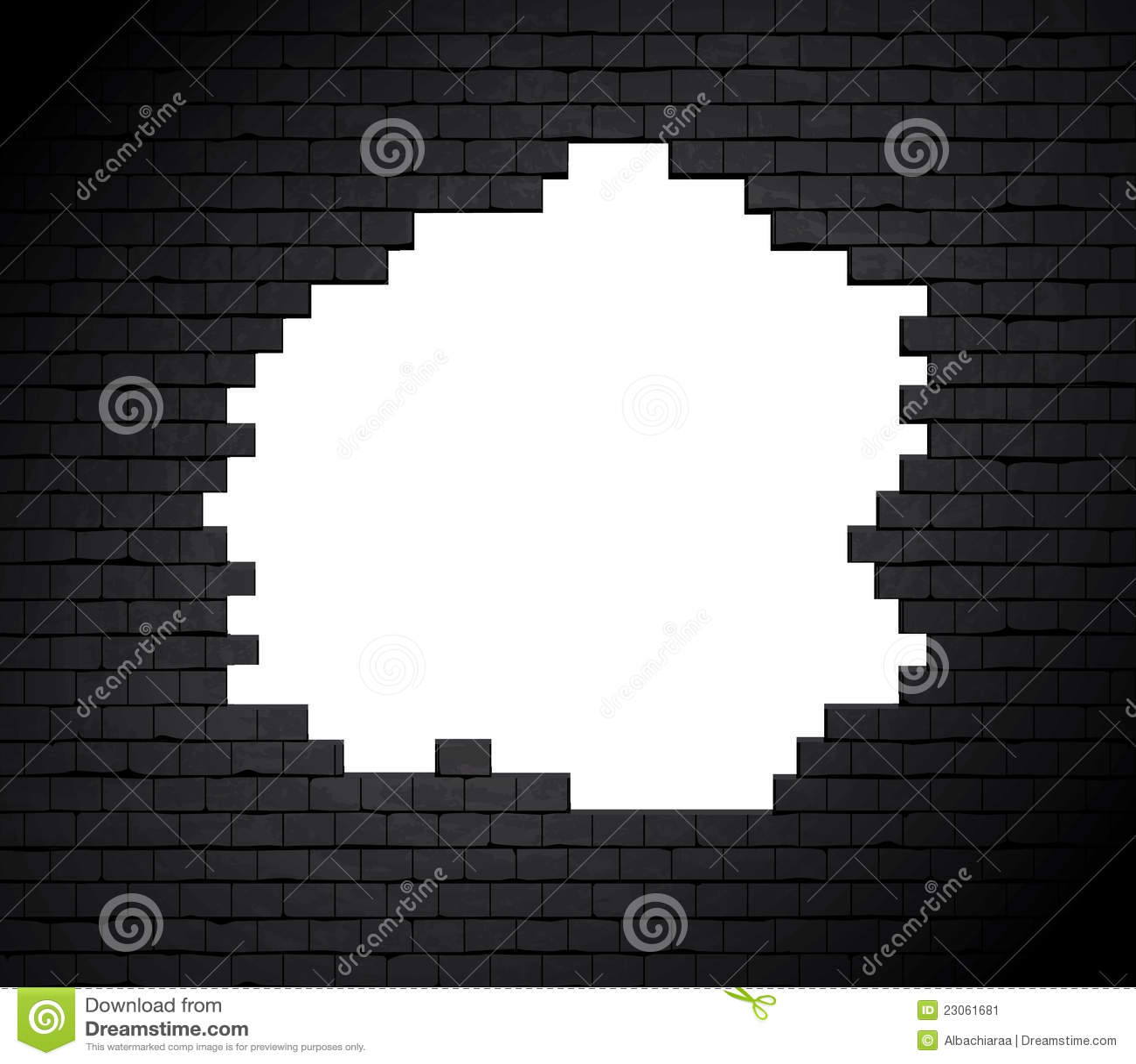 Grande foro sul muro di mattoni.