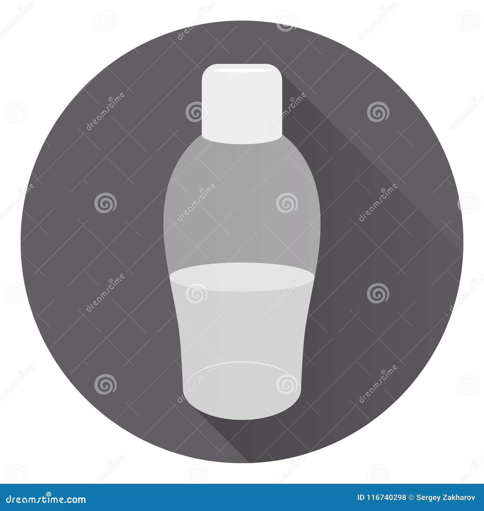 Grande garrafa transparente do sabão líquido ou do creme de corpo Espuma para um banho No fundo escuro redondo com sombra Estilo
