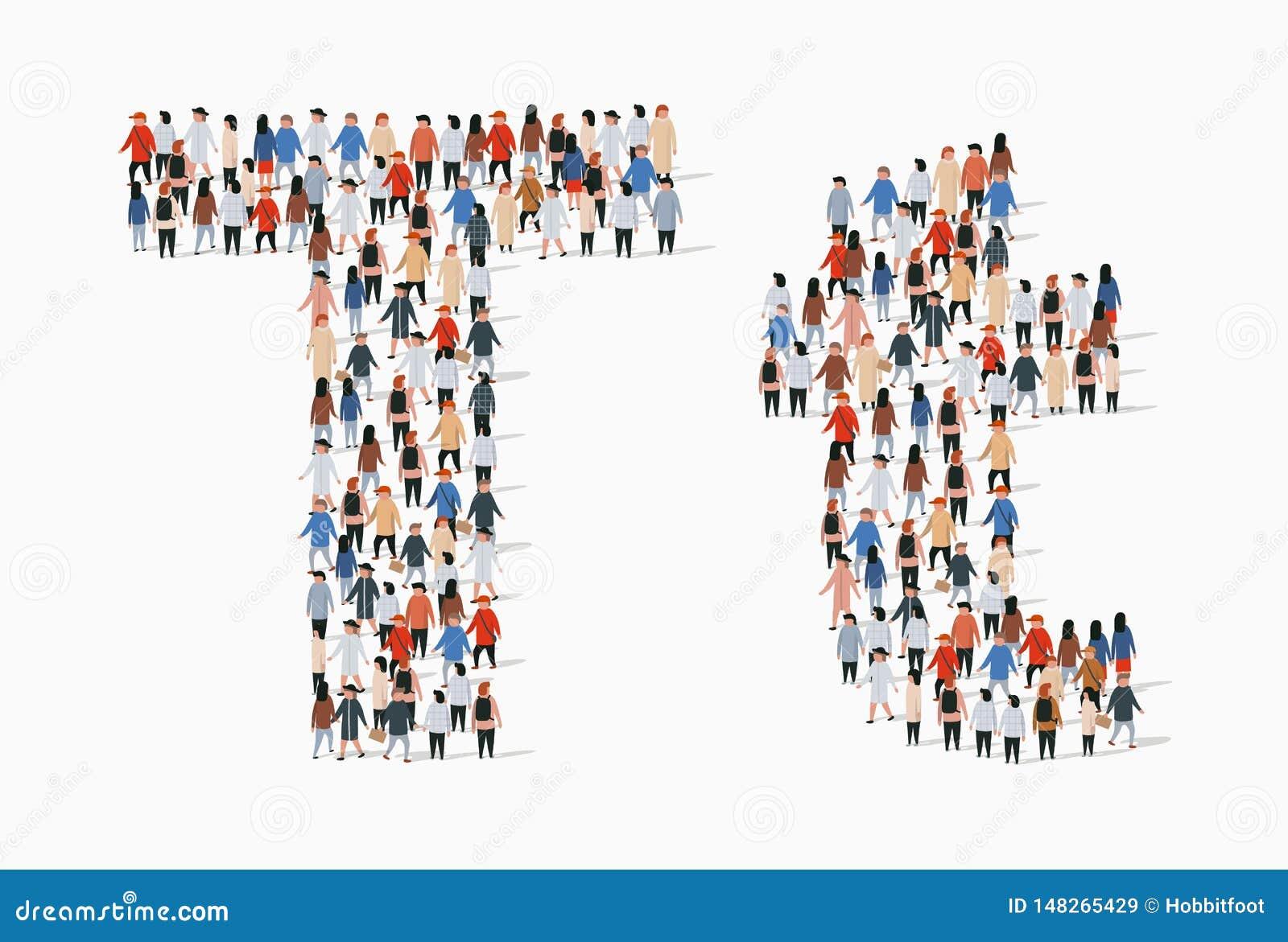 Grande grupo de pessoas no formulário da letra T