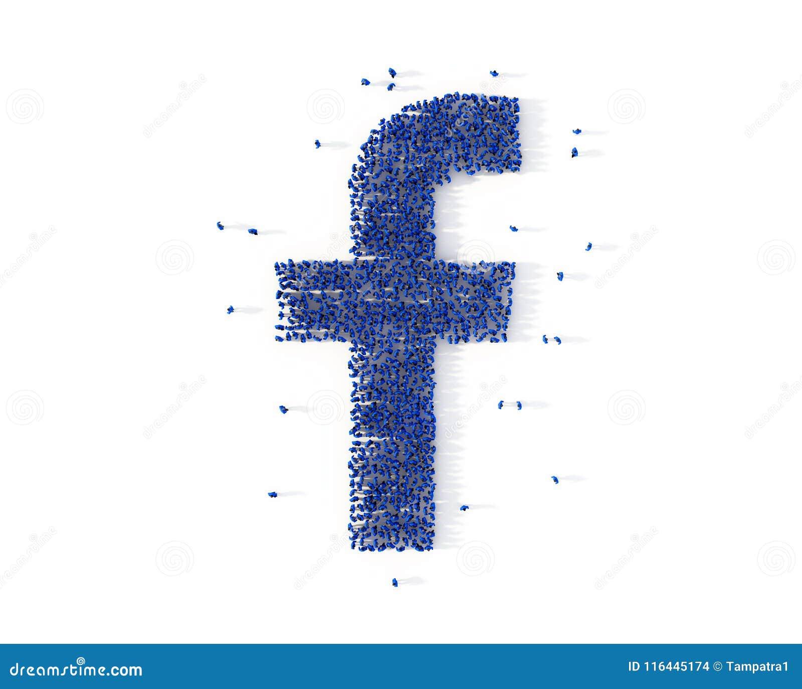 Grande grupo de pessoas que forma um ícone da letra F Media sociais