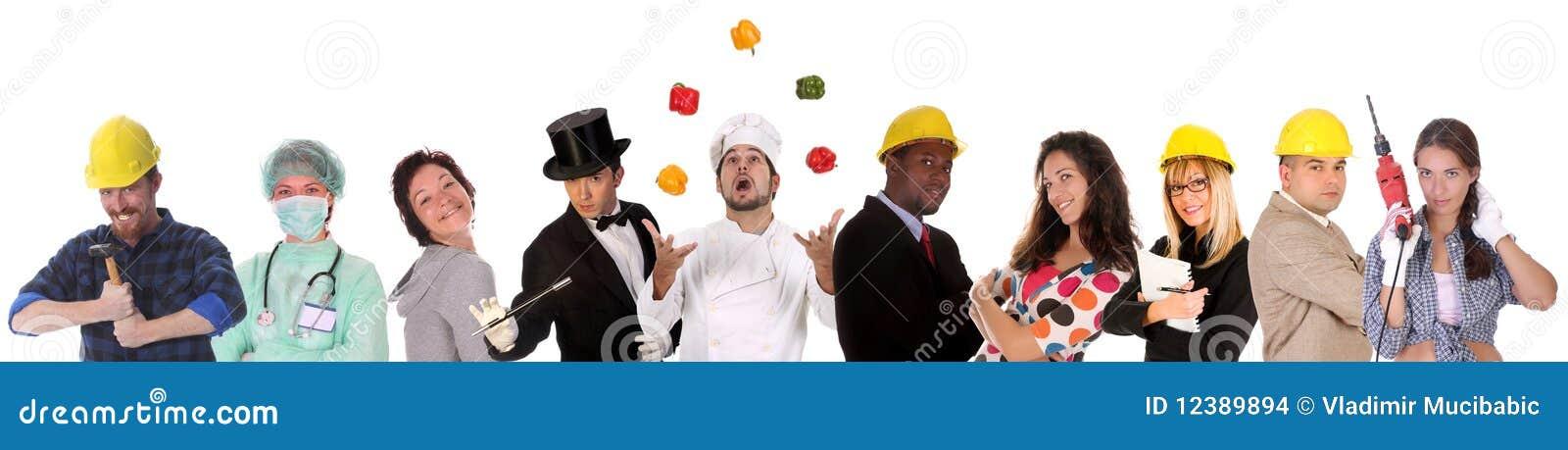 Grande gruppo di gente degli operai di diversità