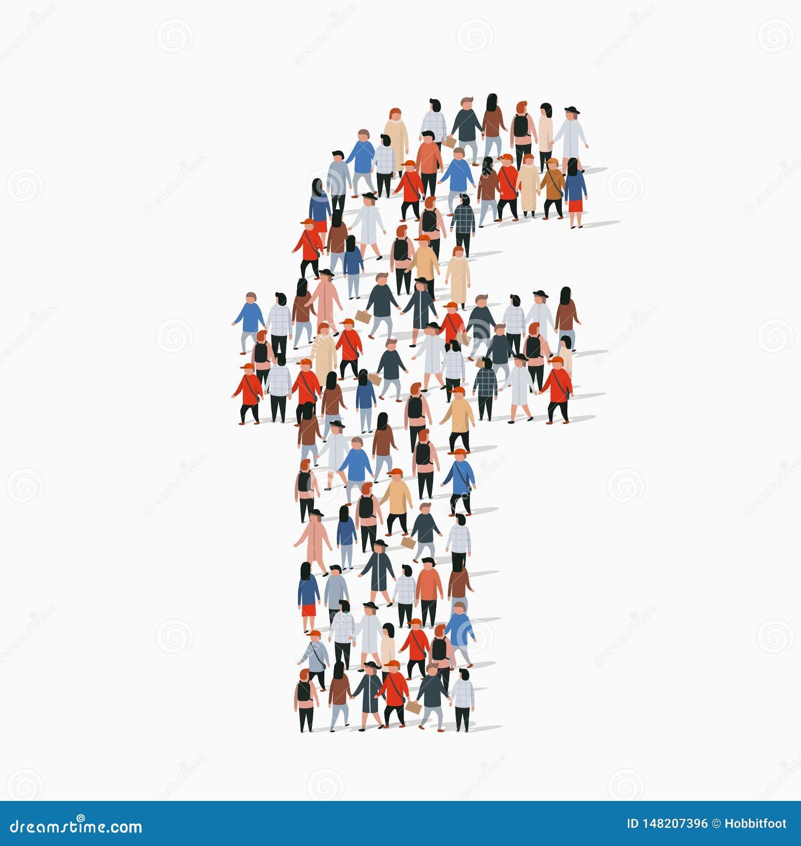 Grande gruppo di persone nella forma della lettera F