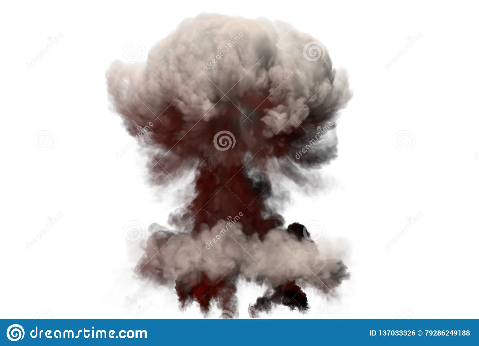 Grande illustration du souffle 3D d explosion détaillée de champignon atomique du feu avec des flammes et de fumée, il ressemble