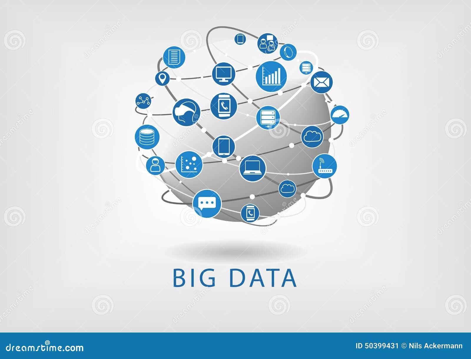 Grande illustration plate de conception de données et de globe montrant la connectivité entre les dispositifs et l information di