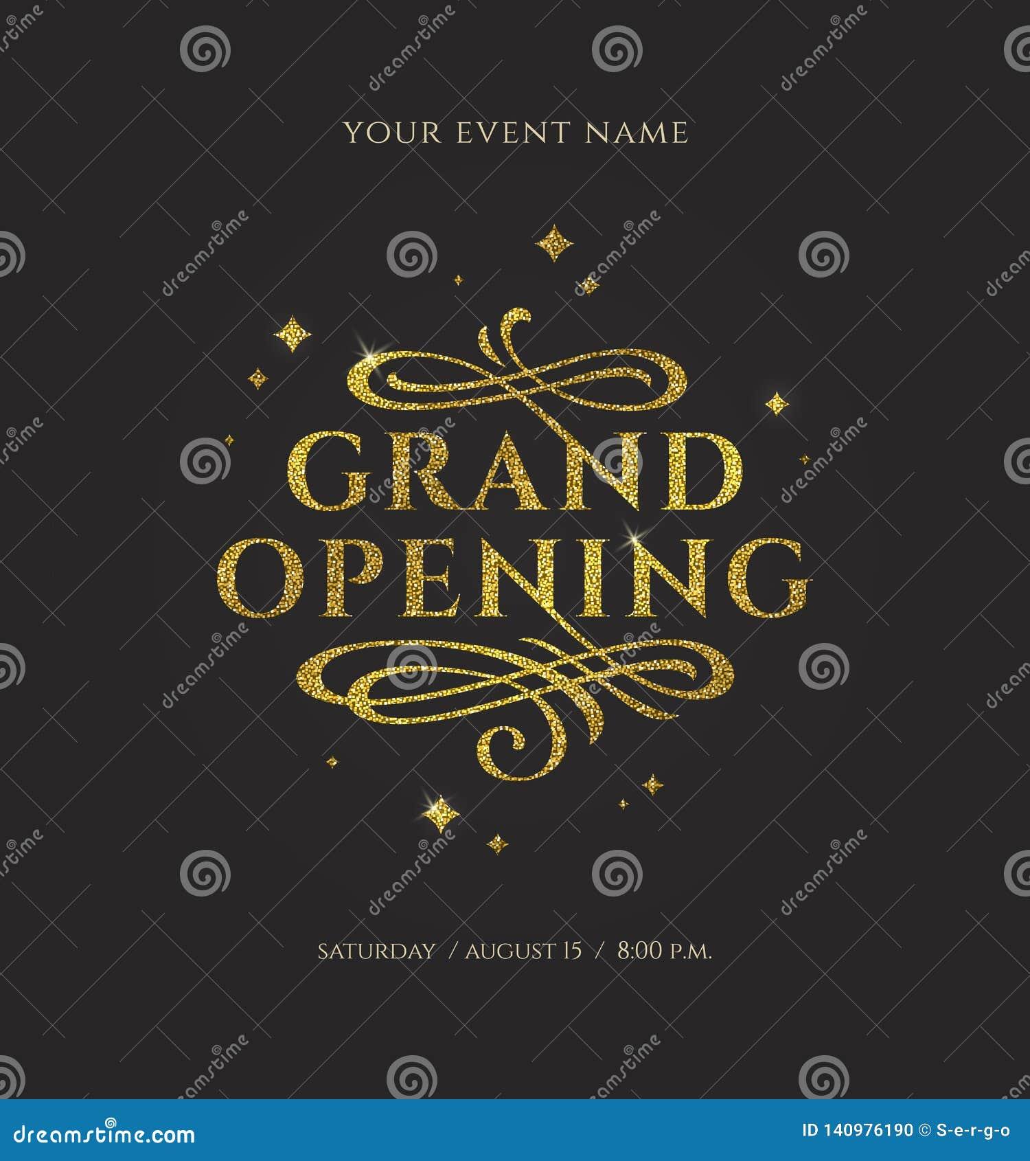 Grande inauguração - o logotipo do ouro do brilho com floresce elementos decorativos no fundo preto