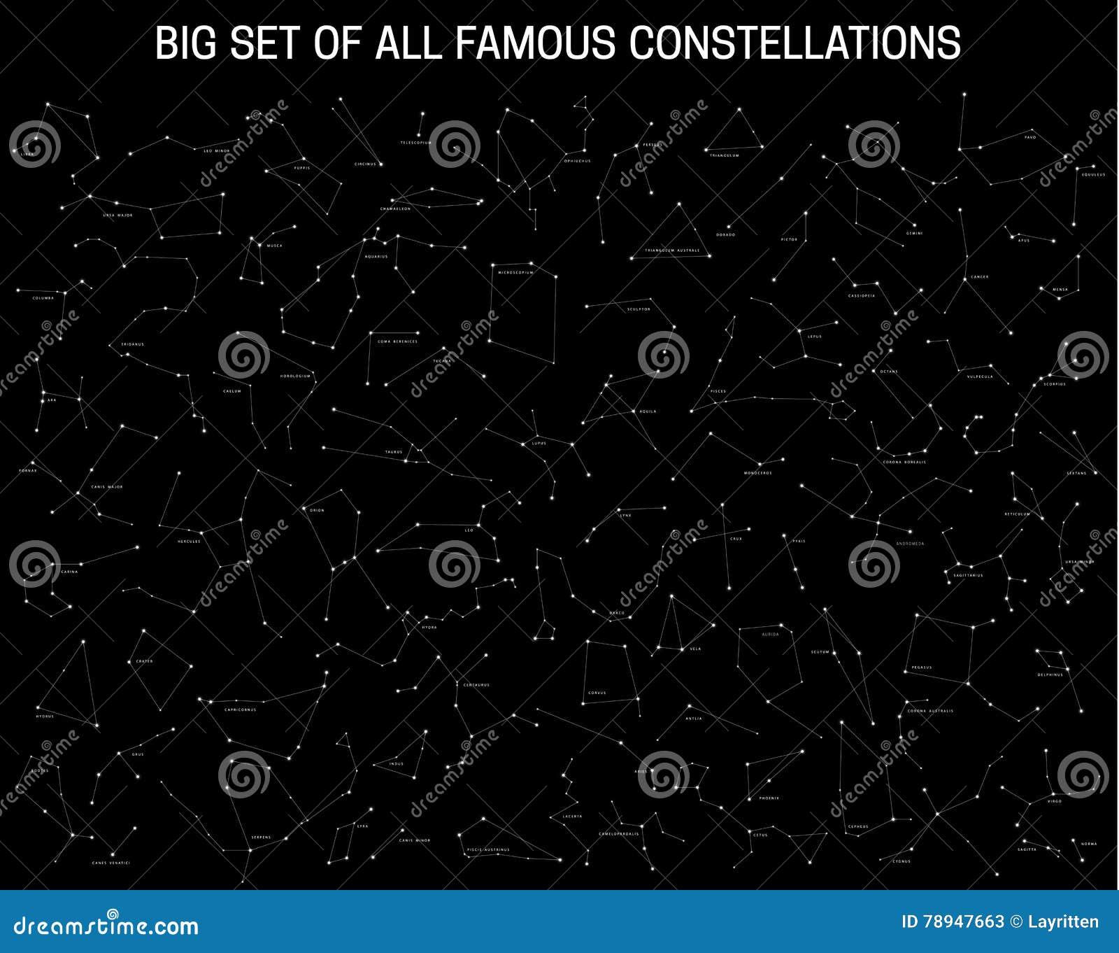 Grande insieme di tutte le costellazioni famose, segni astronomici moderni dello zodiaco