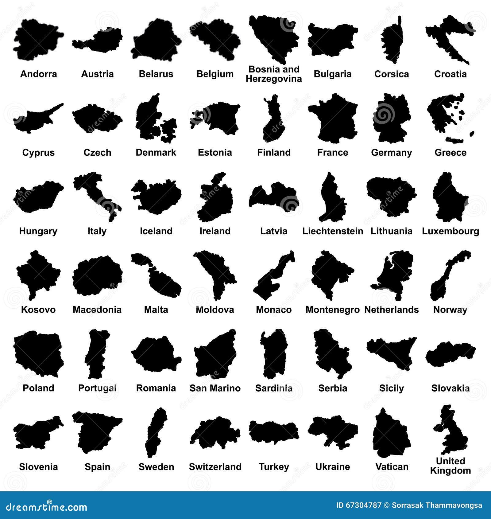 Grande insieme di vettore di tutti gli stati di Europa, paesi su fondo bianco Illustrazione editabile su dettagliata delle mappe