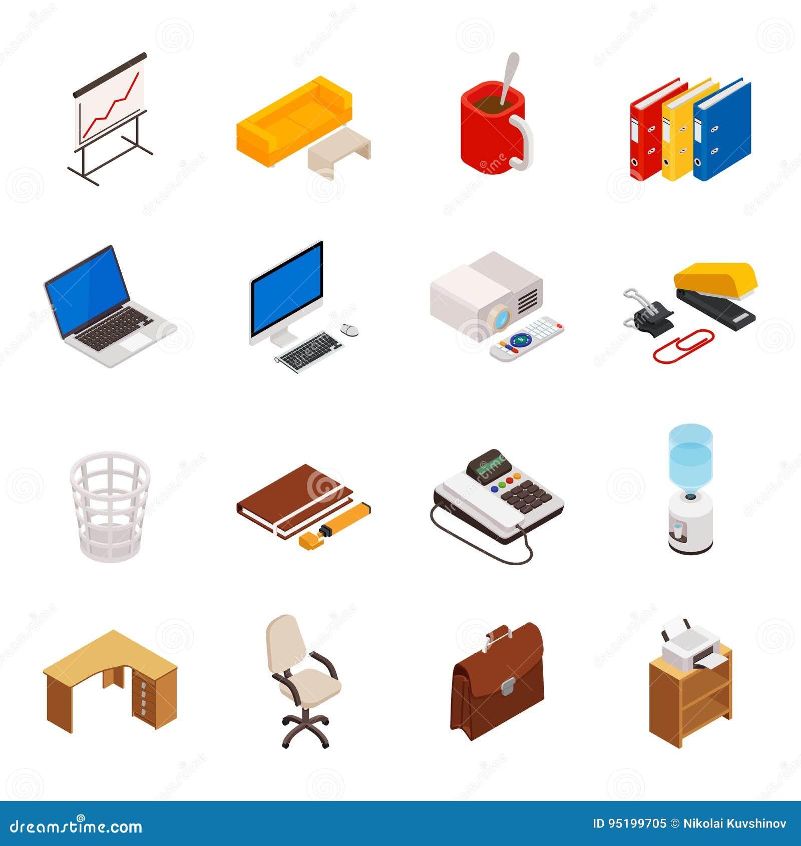 Un Insieme Di Mobili.Grande Insieme Di Volumetrico Isometrico 3d Delle Icone Su Un Tema