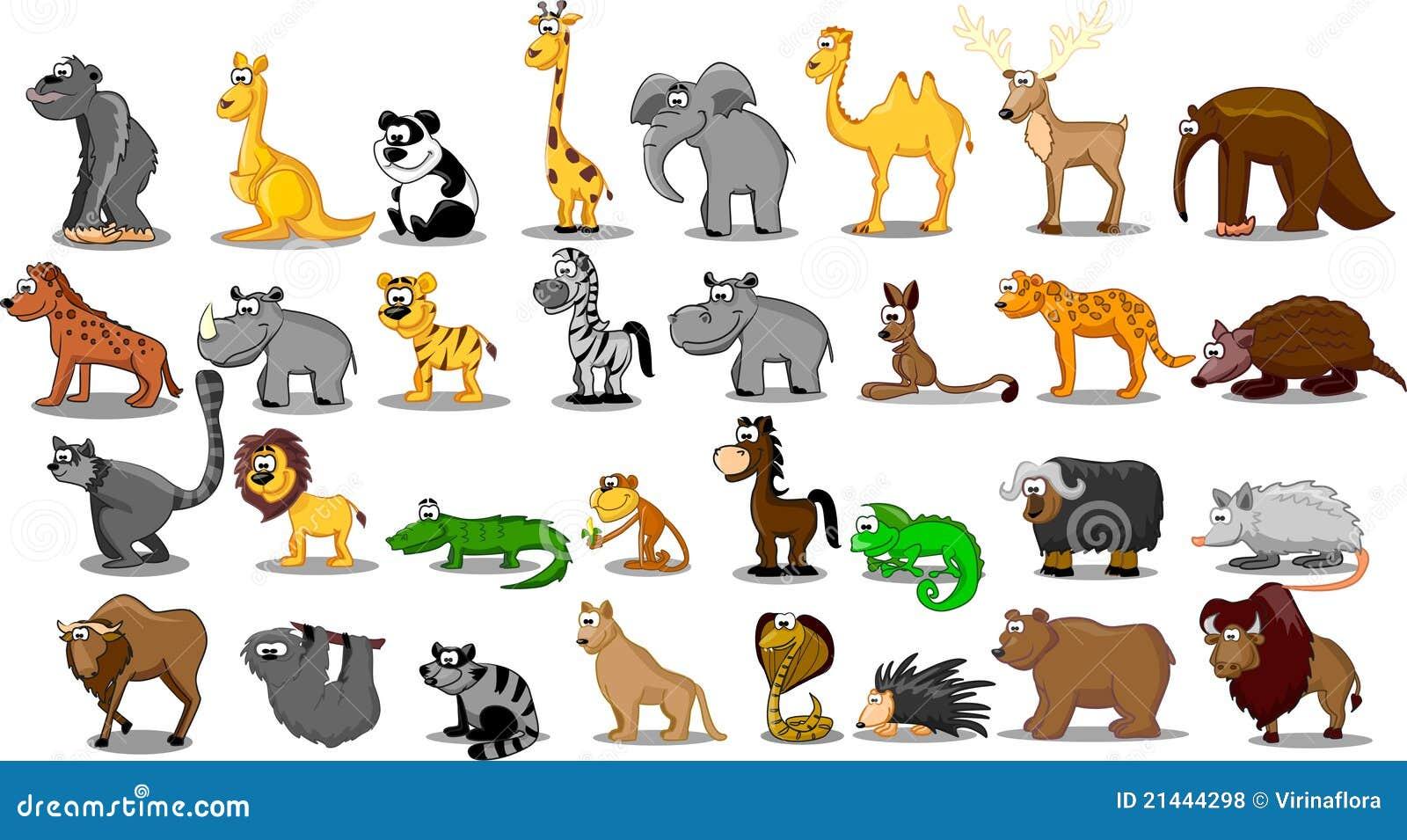 Grande insieme supplementare degli animali compreso il leone, kangaro