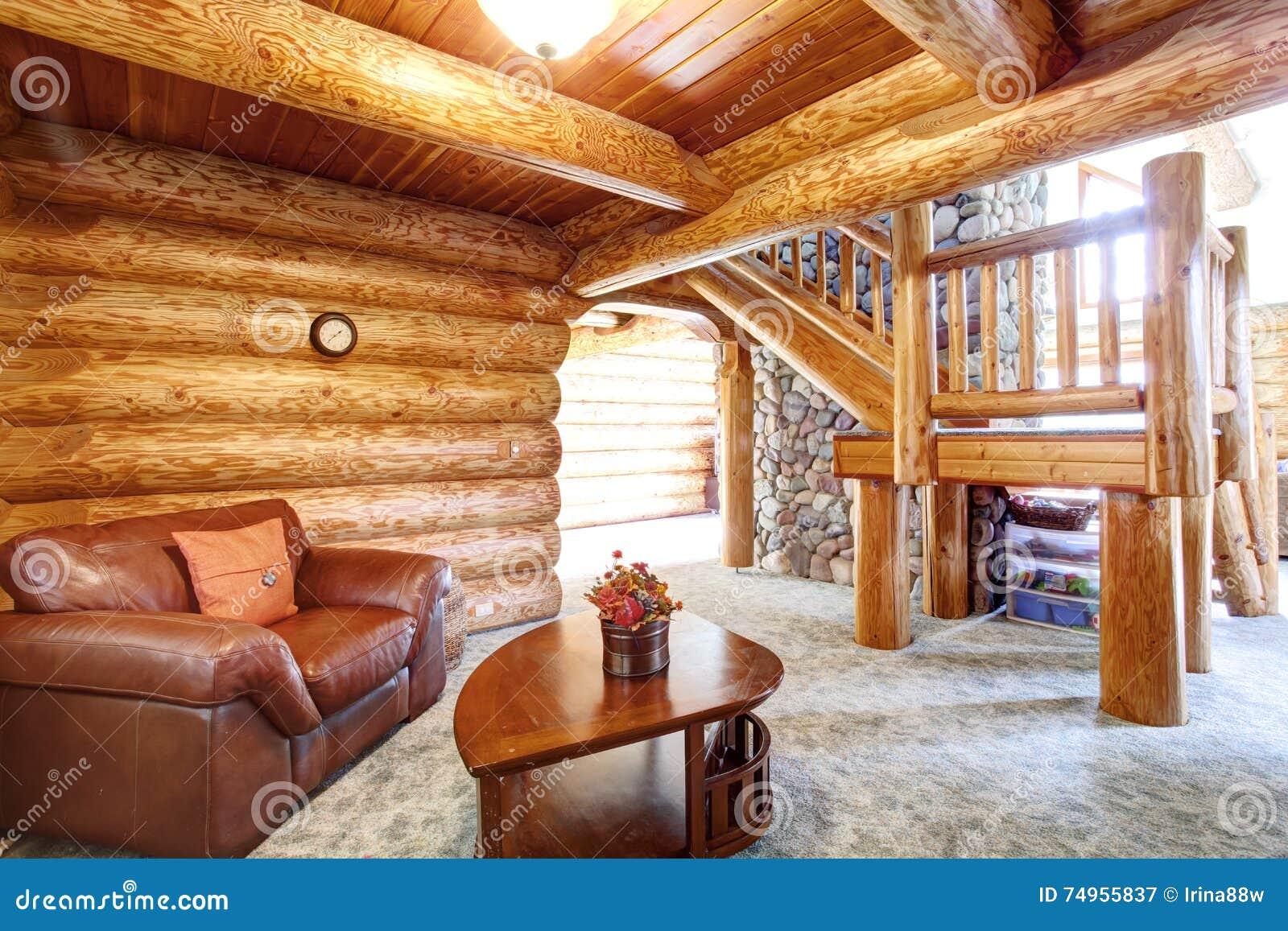 Grande Interior Da Casa Da Cabana R Stica De Madeira Sala De Estar
