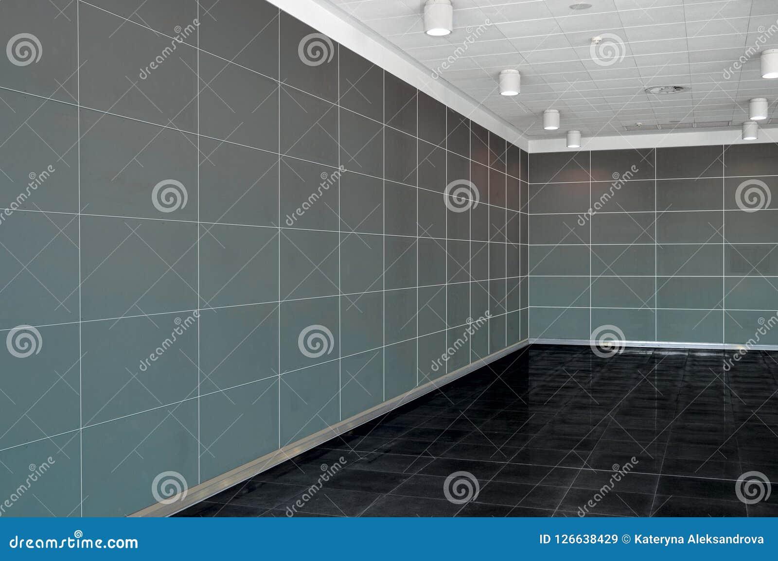 Grande interno vuoto della stanza con la parete, il soffitto del whire e la d grigio scuro