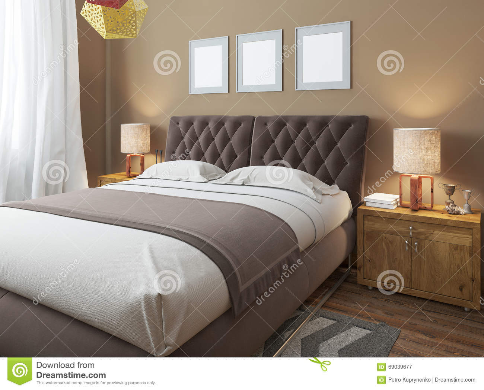 Grande letto matrimoniale moderno di lusso nello stile del sottotetto della camera da letto - Camera da letto sottotetto ...