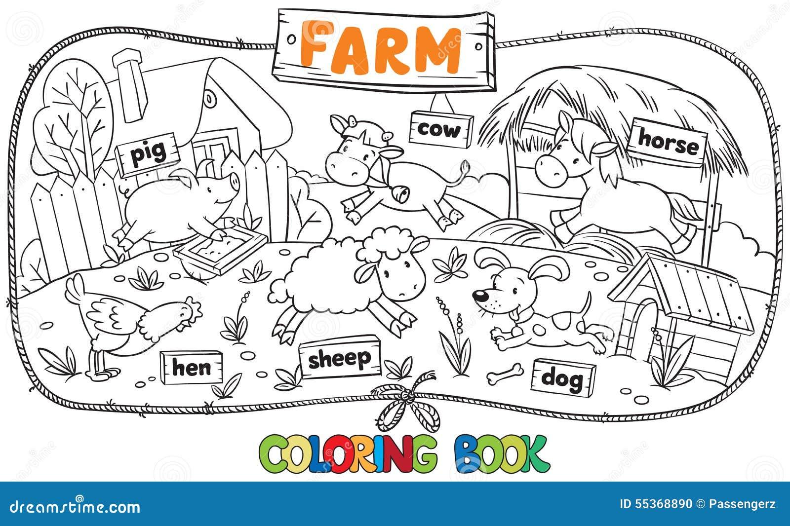 Grande libro da colorare con gli animali da allevamento for Disegni di casa in stile fattoria