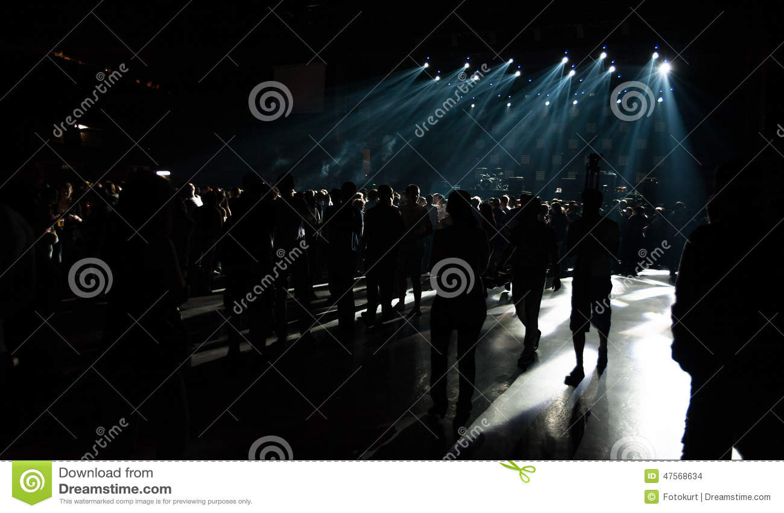 Grande Live Music Concert e con la folla e le luci