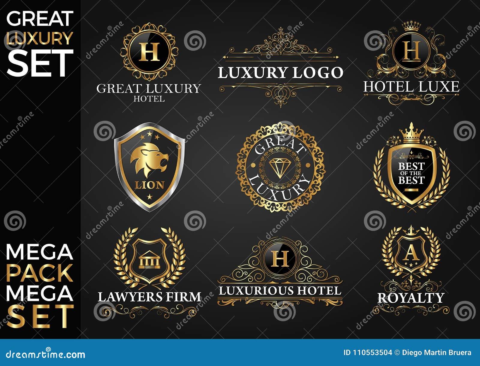 Grande Logo Template Vetora Design do grupo do luxo, o real e o elegante