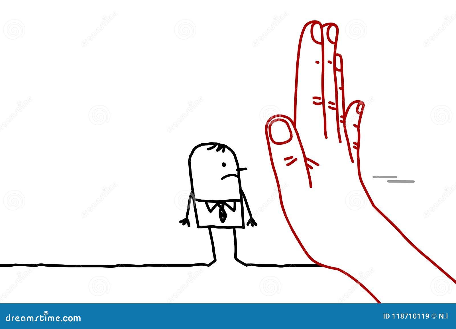 Grande main avec le personnage de dessin animé - arrêtez le signe faisant face à un homme