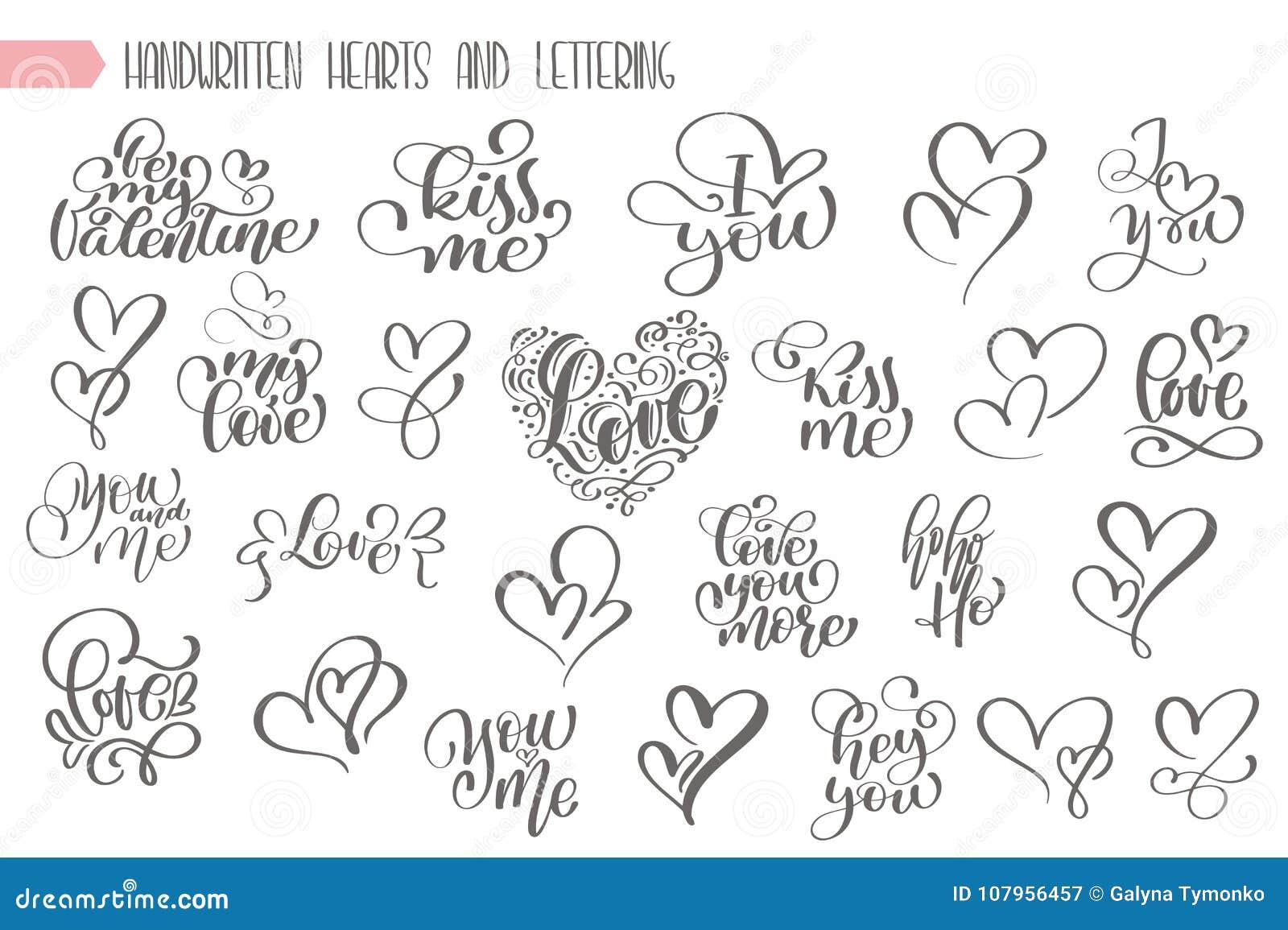 Grande main d ensemble écrite la lettre au sujet de l amour à l affiche de jour de valentines et de conception de coeur, carte de