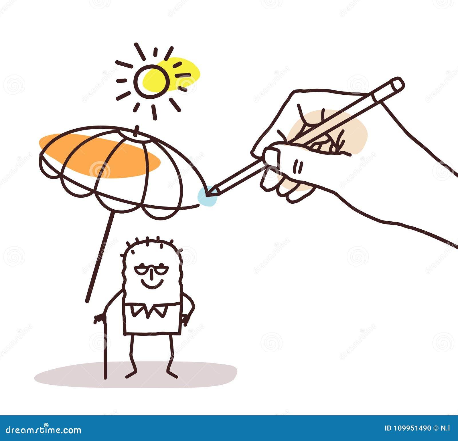 Dessin Parasol grande main de dessin - vieil homme de bande dessinée avec le