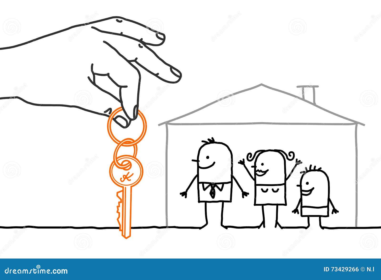 Grande main et personnages de dessin anim famille avec for Nouvelles conceptions et plans de maison