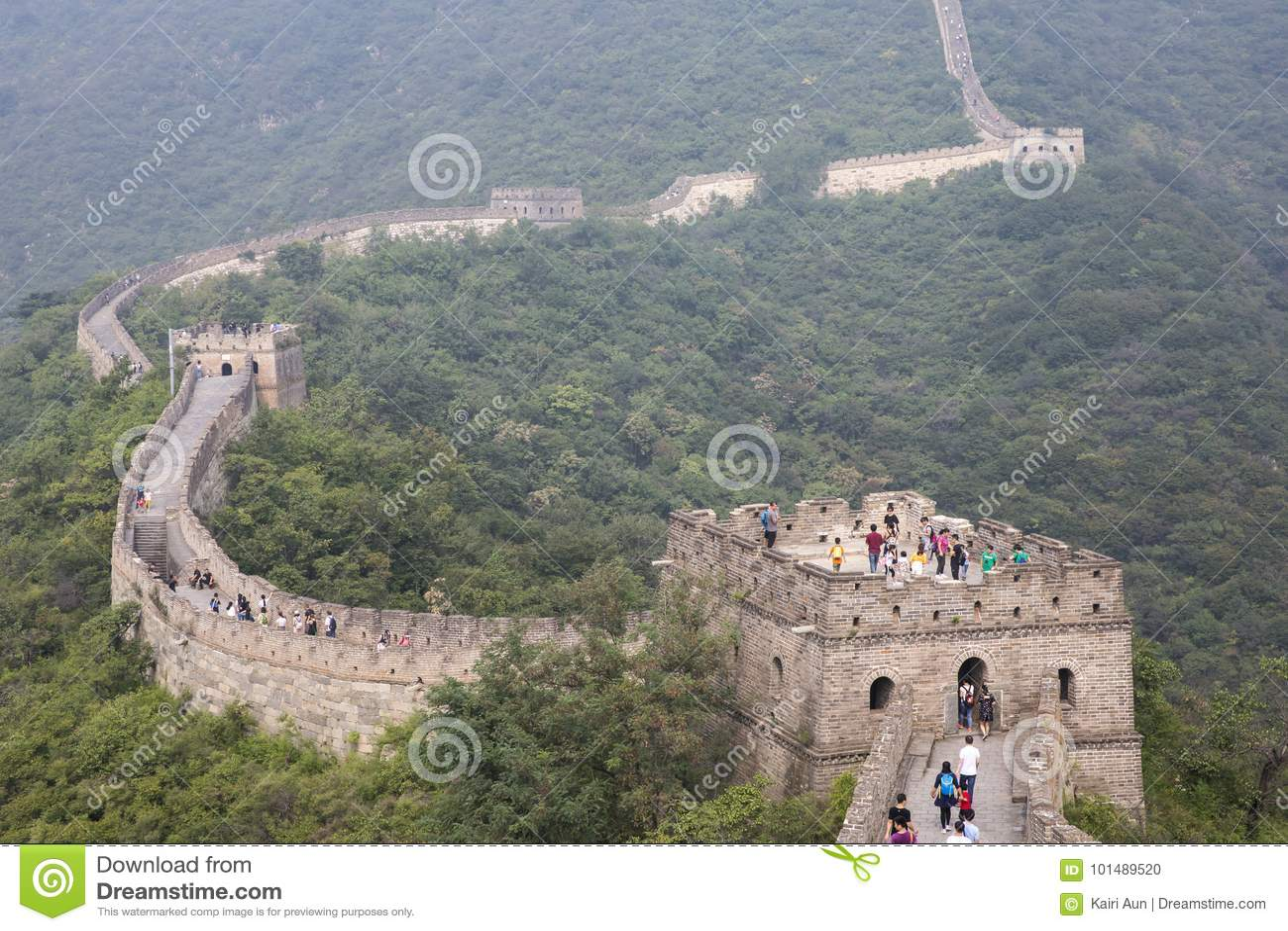 Grande Muraille de la Chine dans une brume de matin