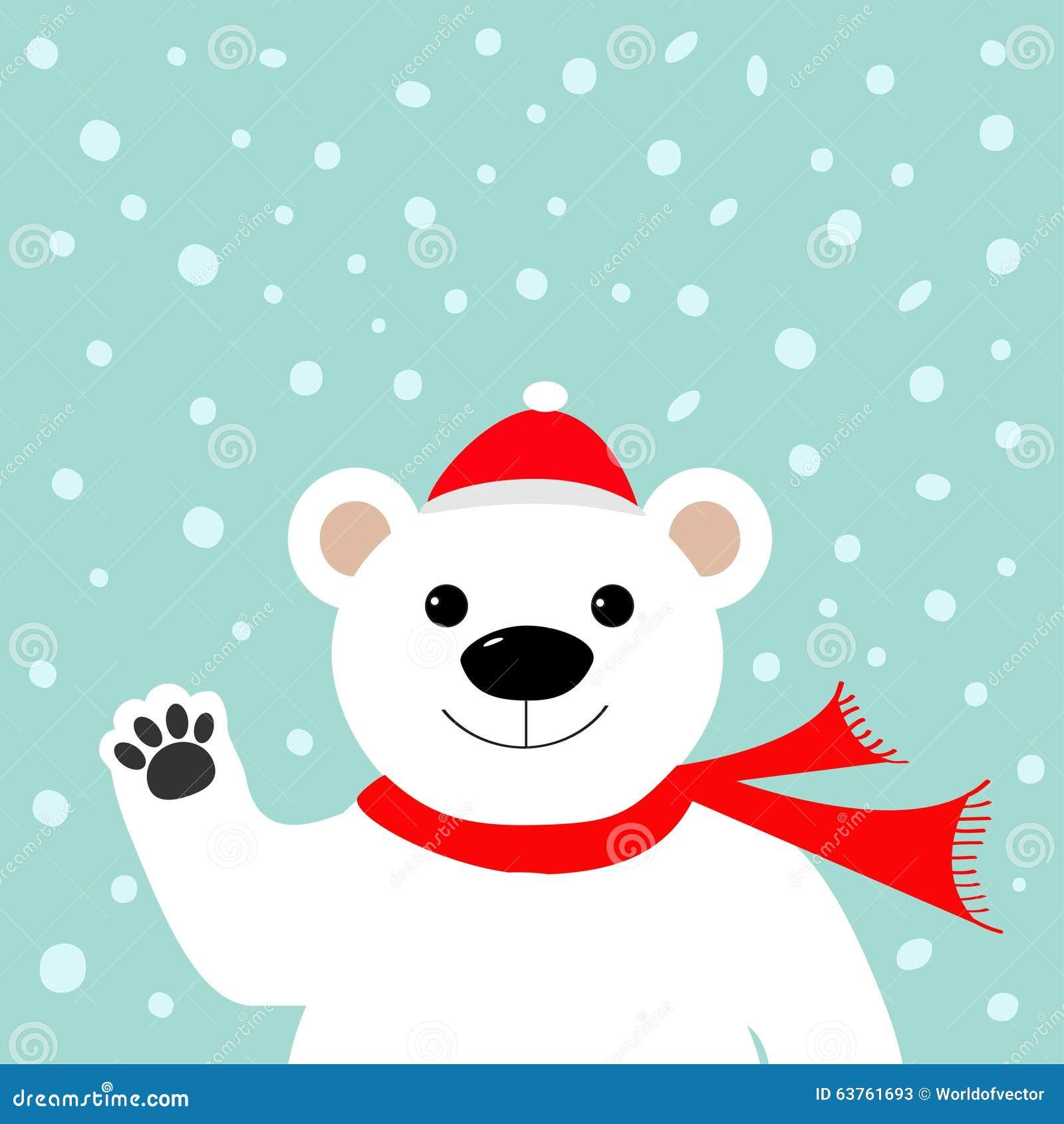 Babbo Natale Zampa.Grande Orso Polare Bianco In Cappello Del Babbo Natale E Sciarpa