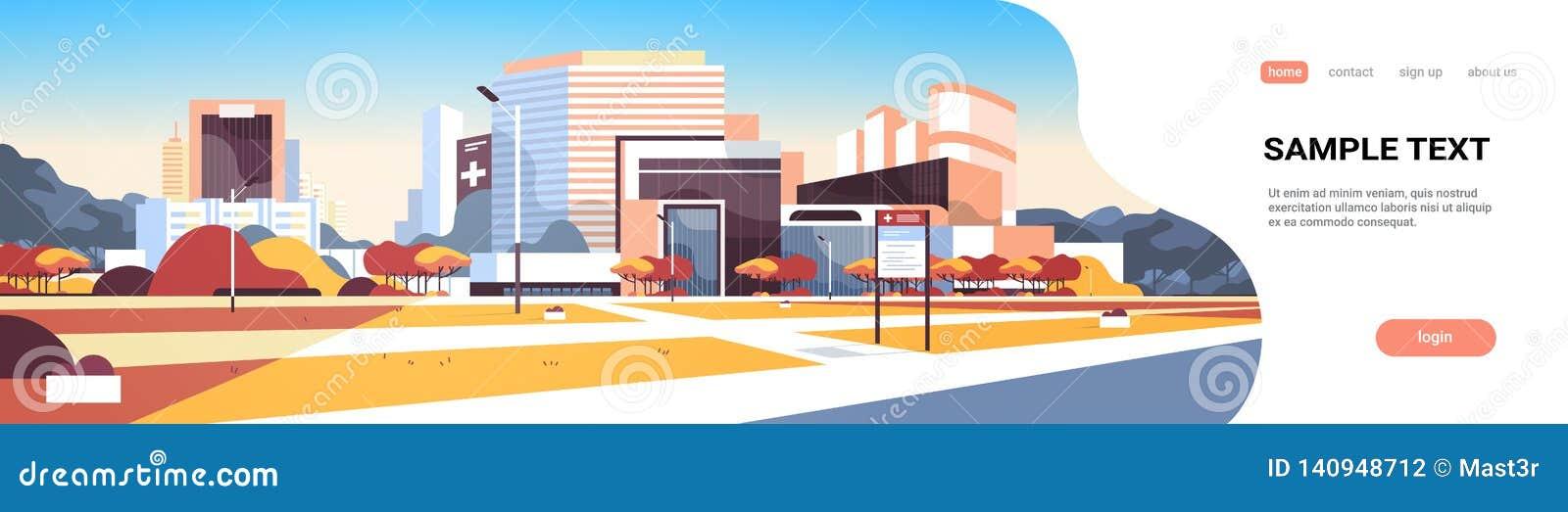 Grande ospedale che sviluppa esterno moderno della clinica medica con il fondo di paesaggio urbano degli alberi del bordo di info